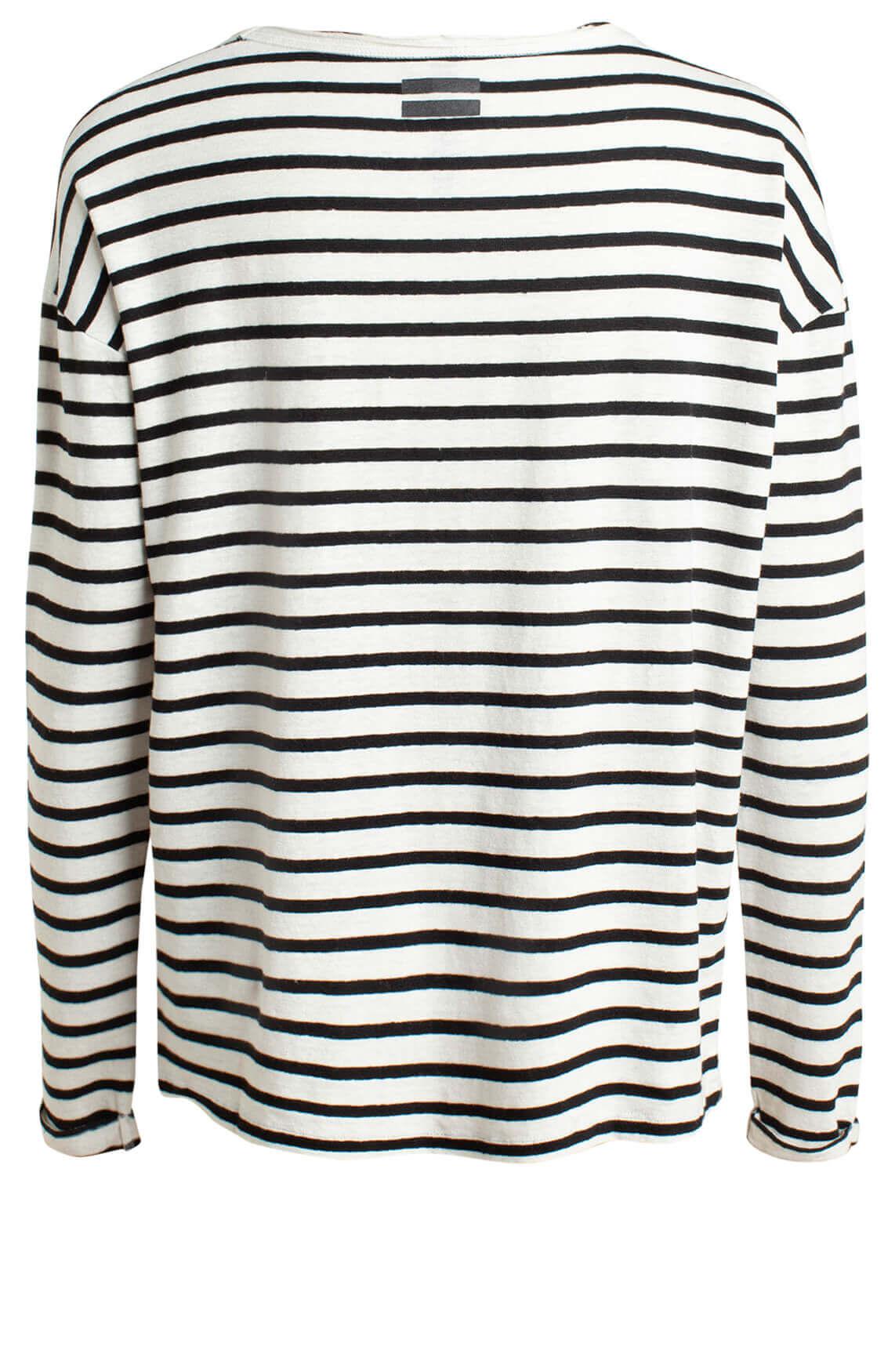 10 Days Dames Gestreept linnen shirt Ecru