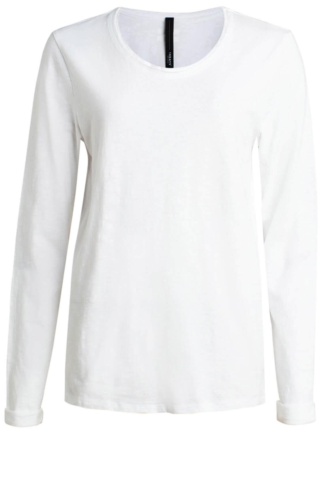 10 Days Dames Shirt met satijnen bies wit