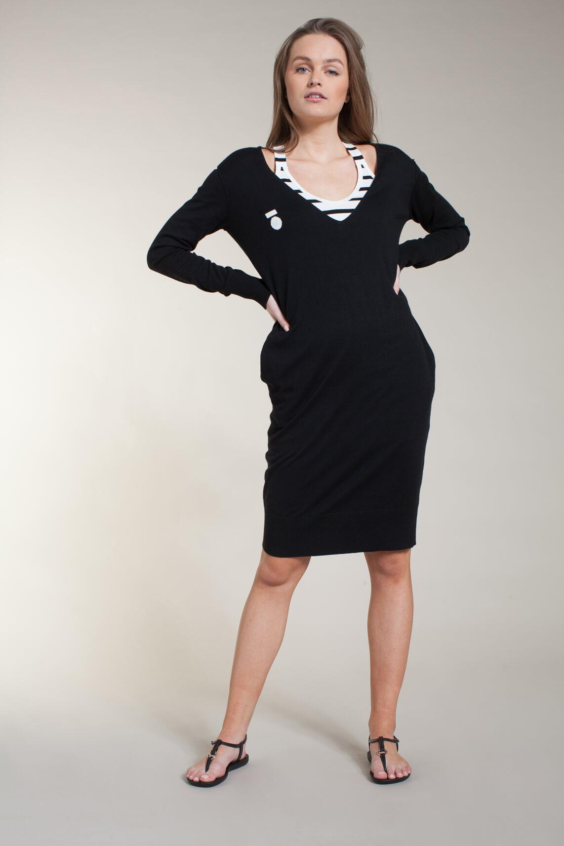 10 Days Dames Gebreide midi jurk zwart