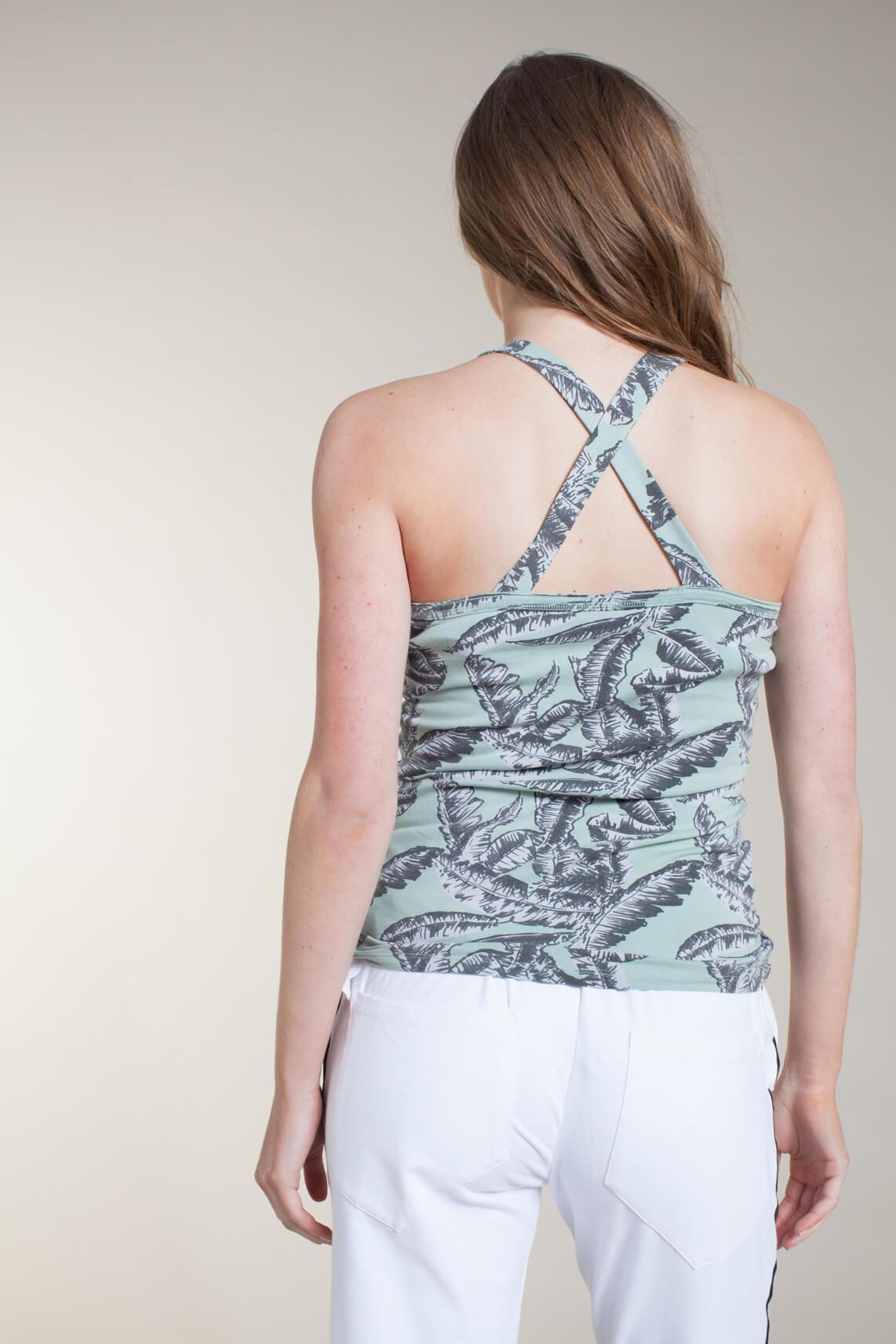 10 Days Dames Top met palmprint groen
