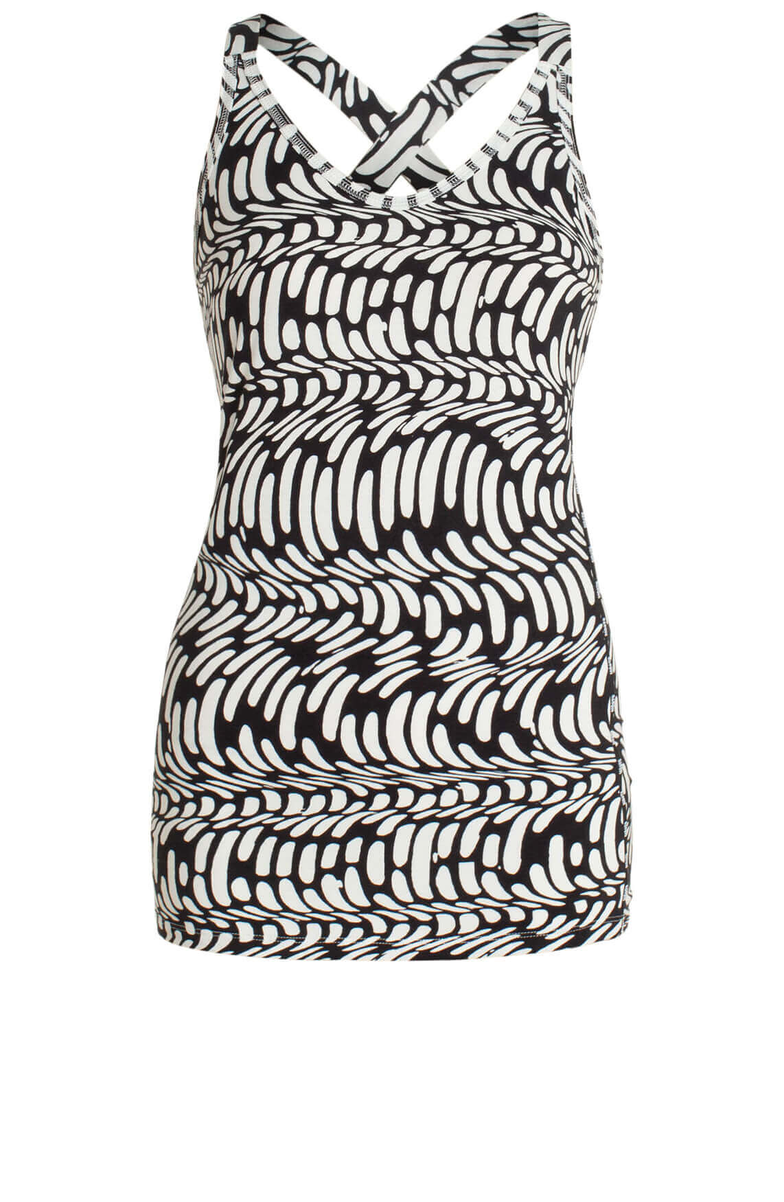 10 Days Dames Top met wave print zwart