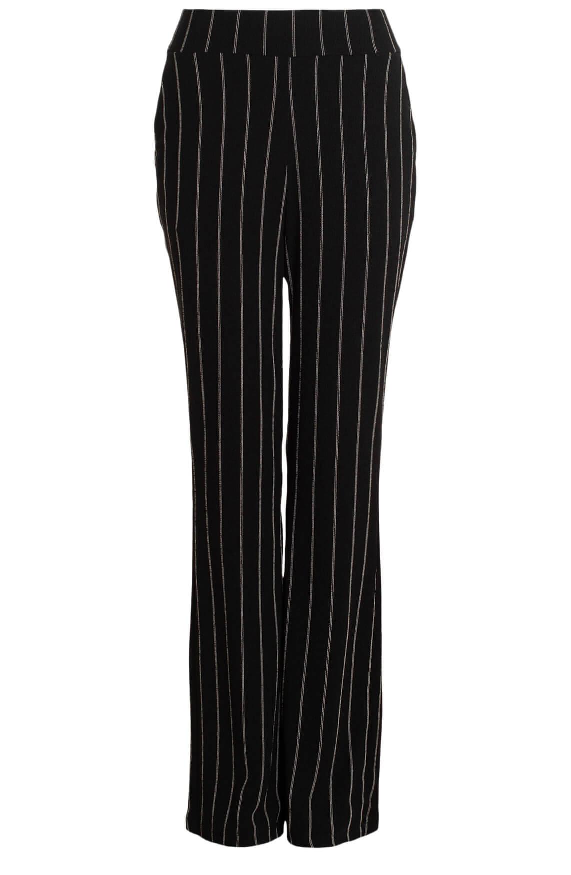 Anna Dames Flared broek met fijne strepen zwart