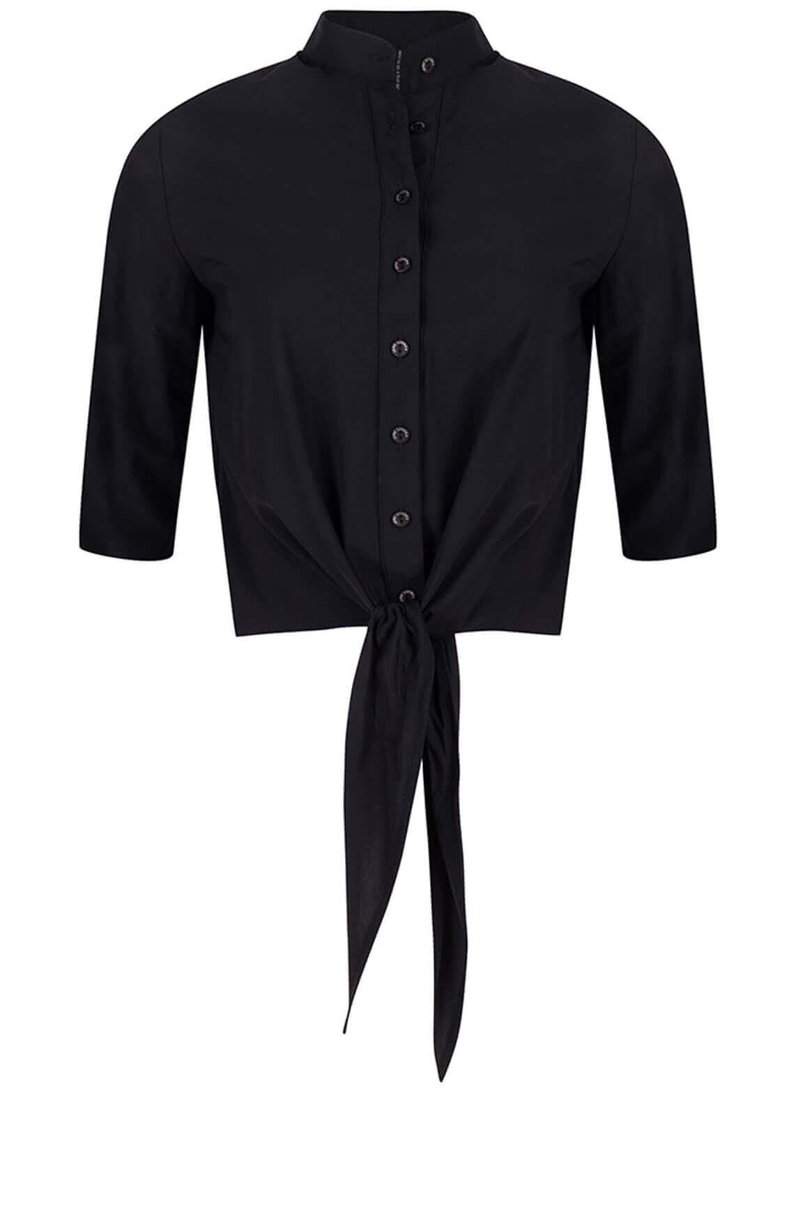 Jane Lushka Dames Chloe cropped blouse zwart