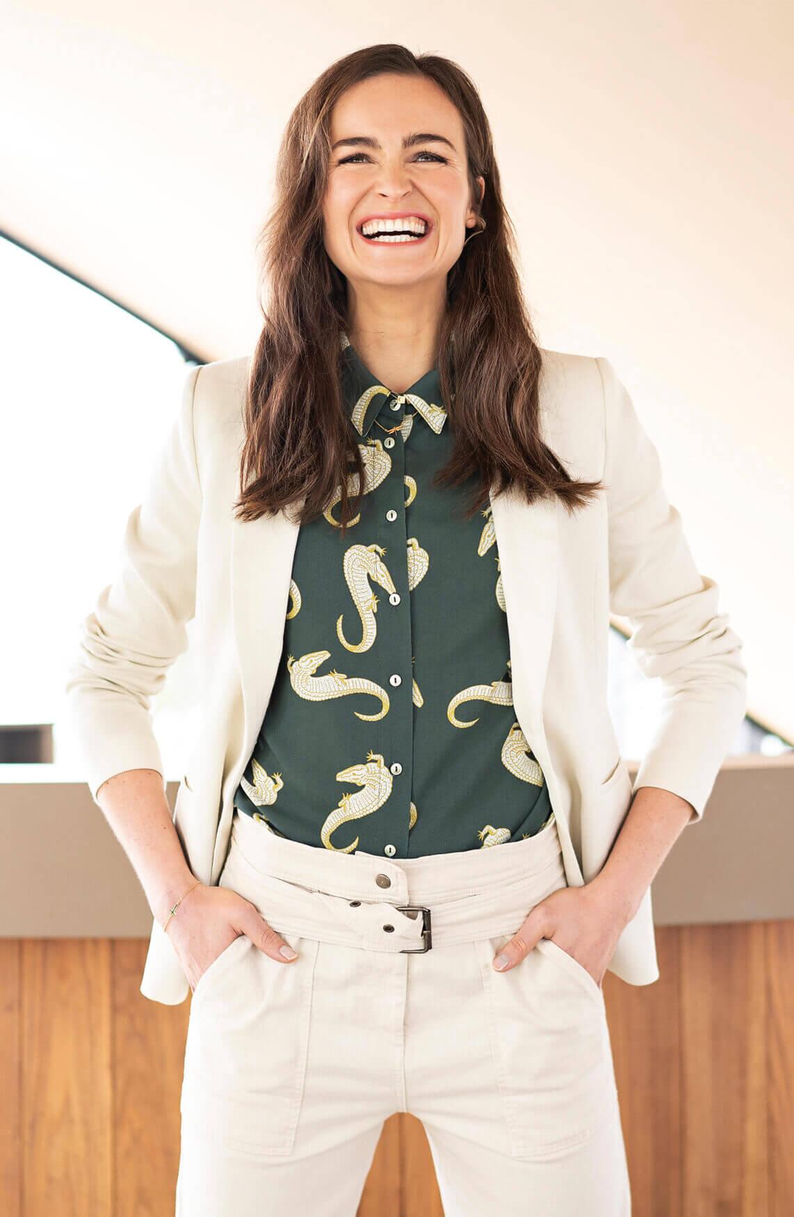Anna Dames Blouse met croco print groen