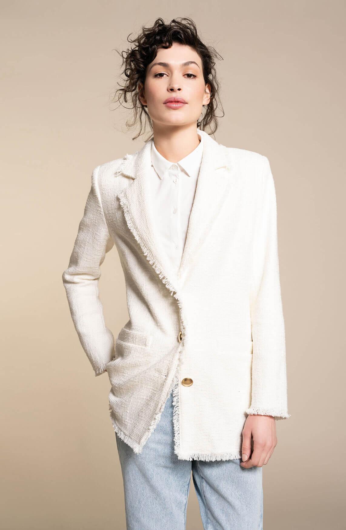 Anna Dames Bouclé blazer wit
