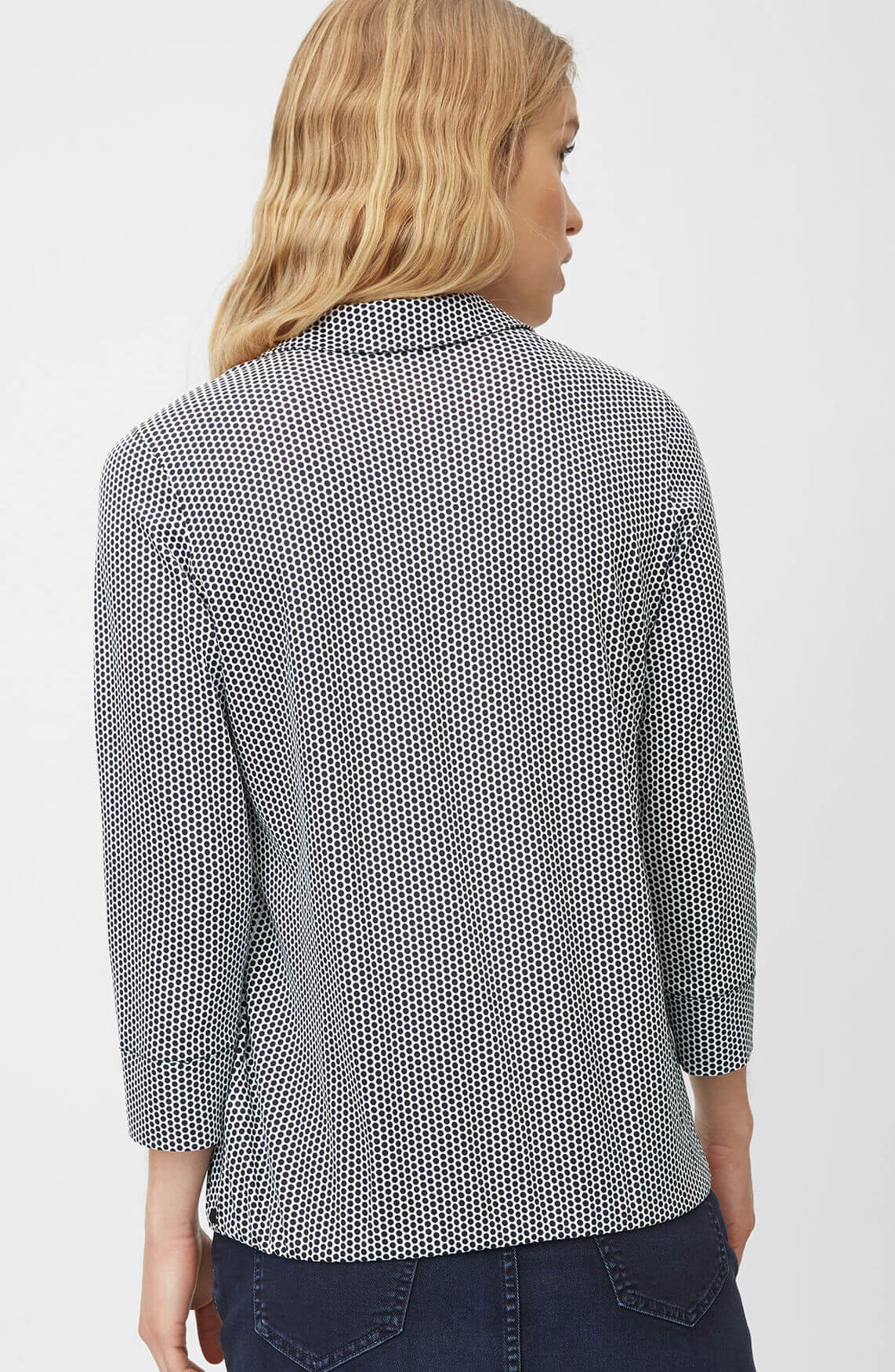 Marc O'Polo Dames Gestippelde blouse zwart