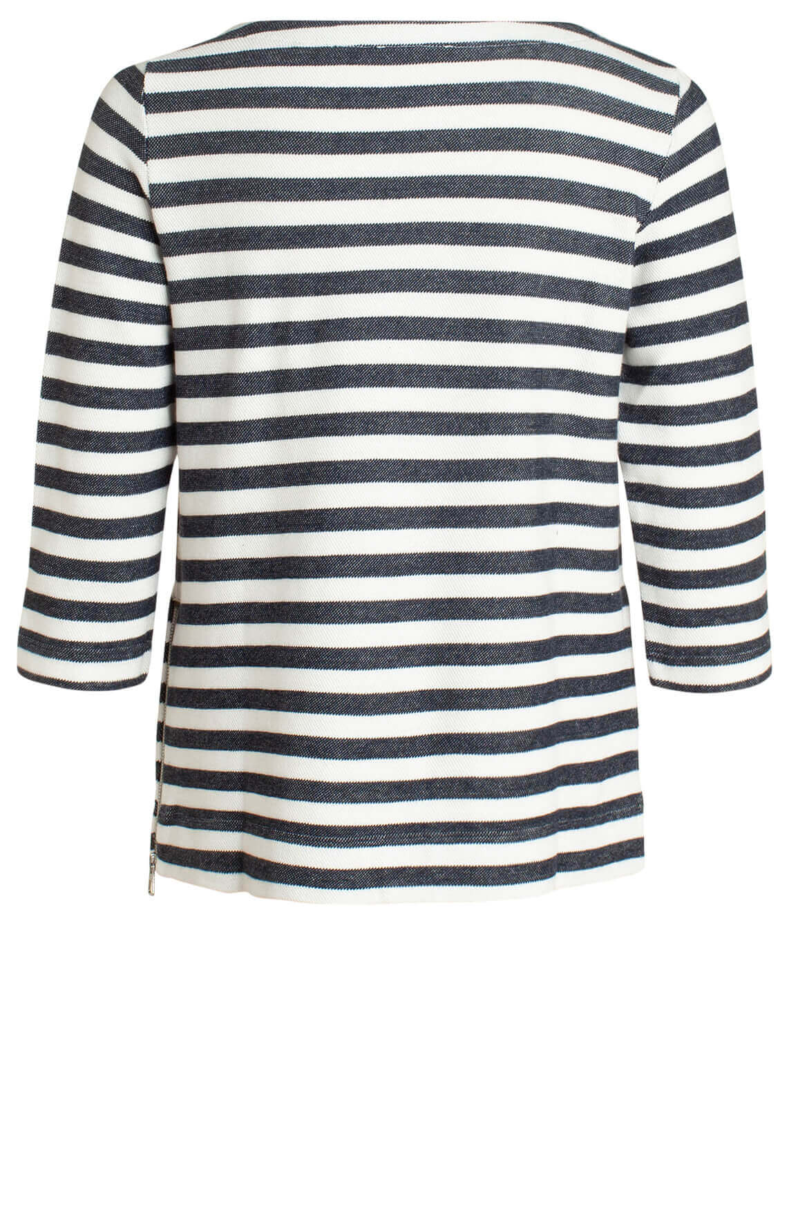 Marc O'Polo Dames Gestreepte sweater met rits Blauw