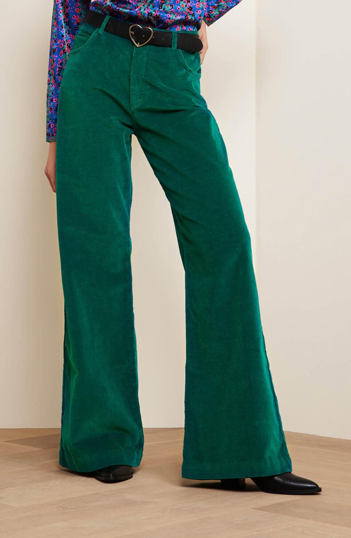Fabienne Chapot Dames Dream velvet broek groen