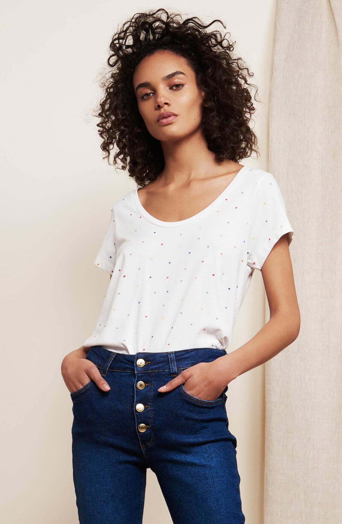 Fabienne Chapot Dames Kris gestippeld shirt wit