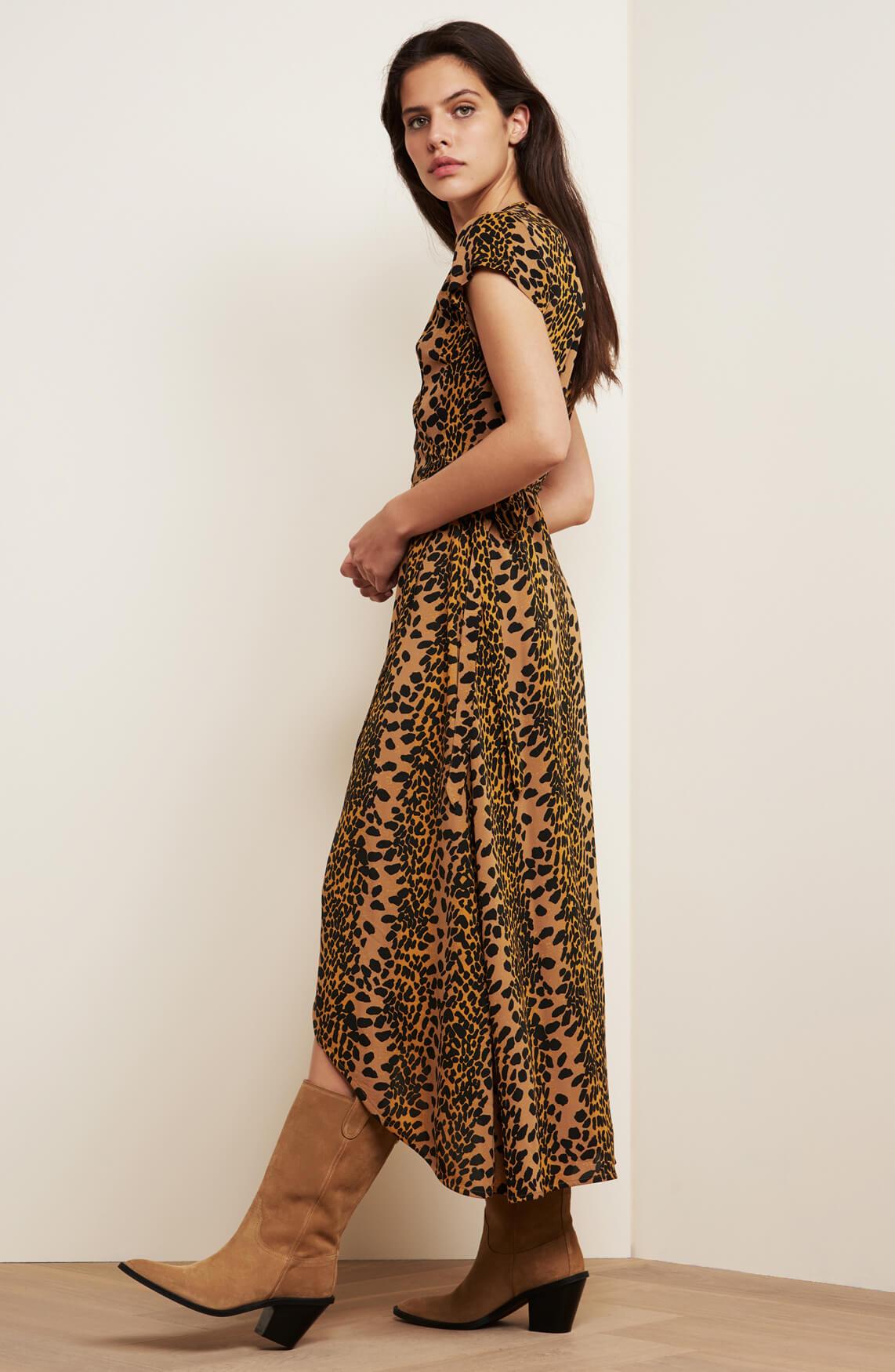 Fabienne Chapot Dames Archana jurk met overslag Bruin