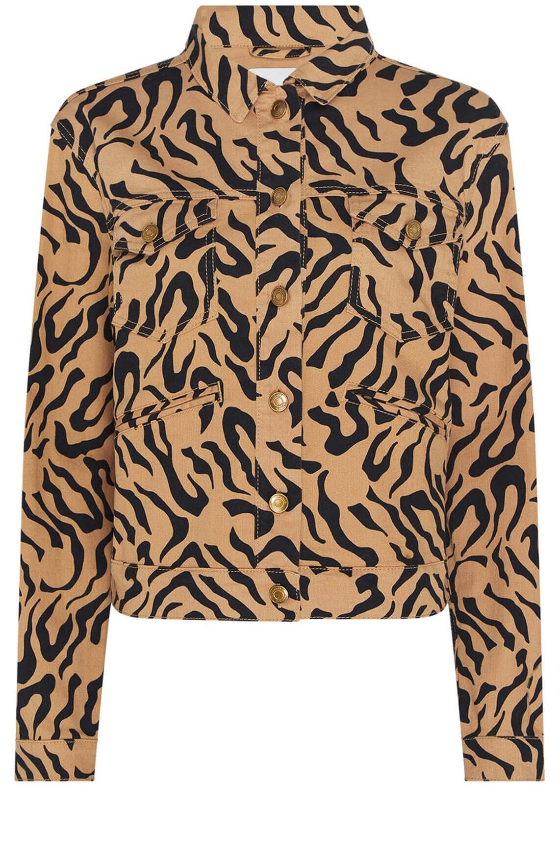 Fabienne Chapot Dames Cyprus tijgerprint jack Bruin