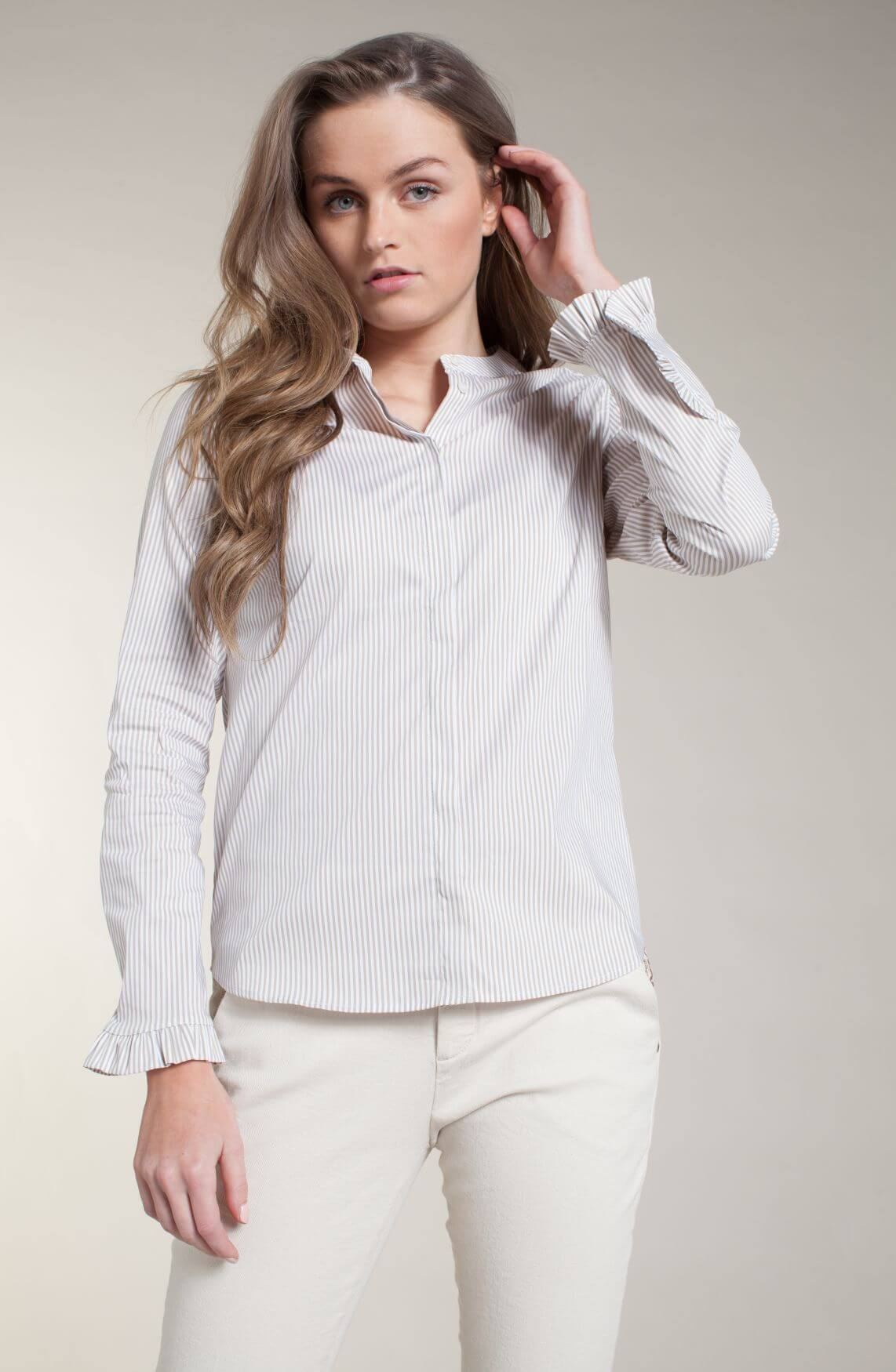 Mos Mosh Dames Mattie gestreepte blouse Bruin