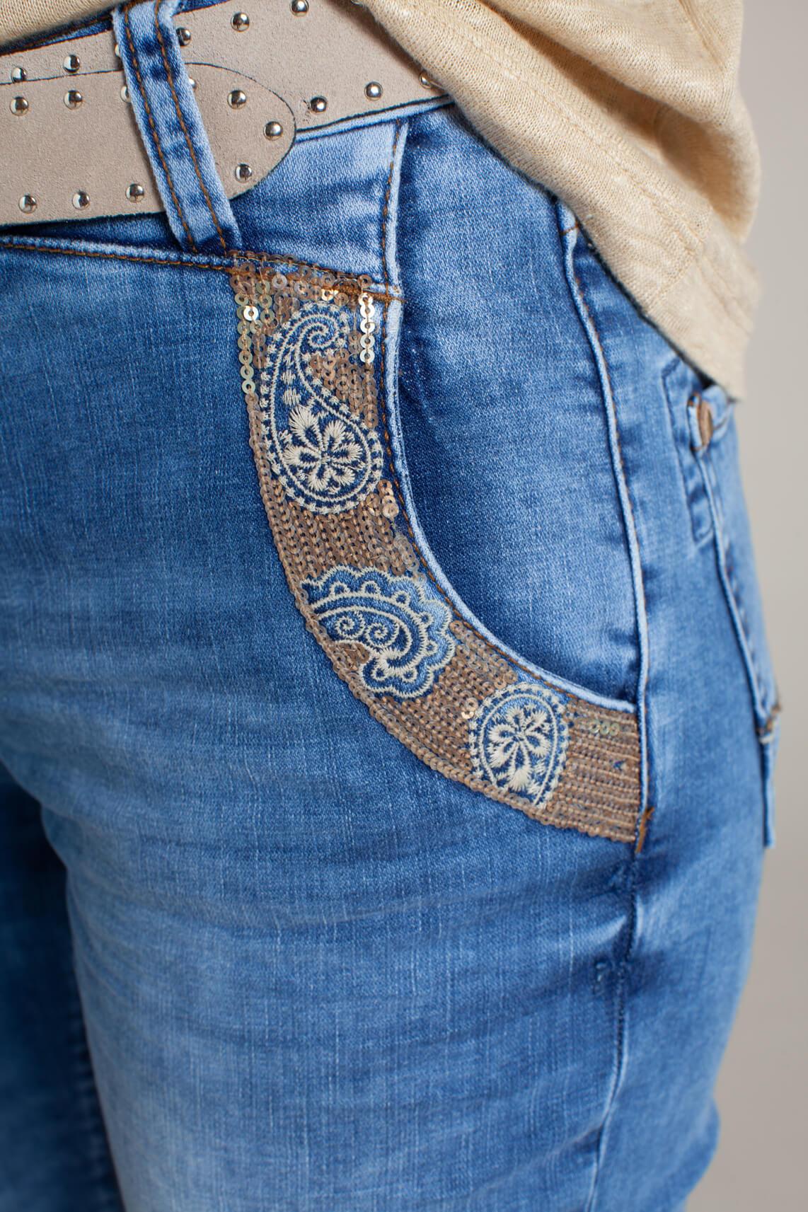Mos Mosh Dames Etta cropped jeans Blauw