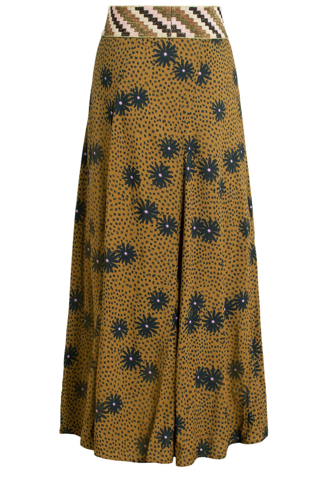 Anna Dames Rok met bloemenprint groen