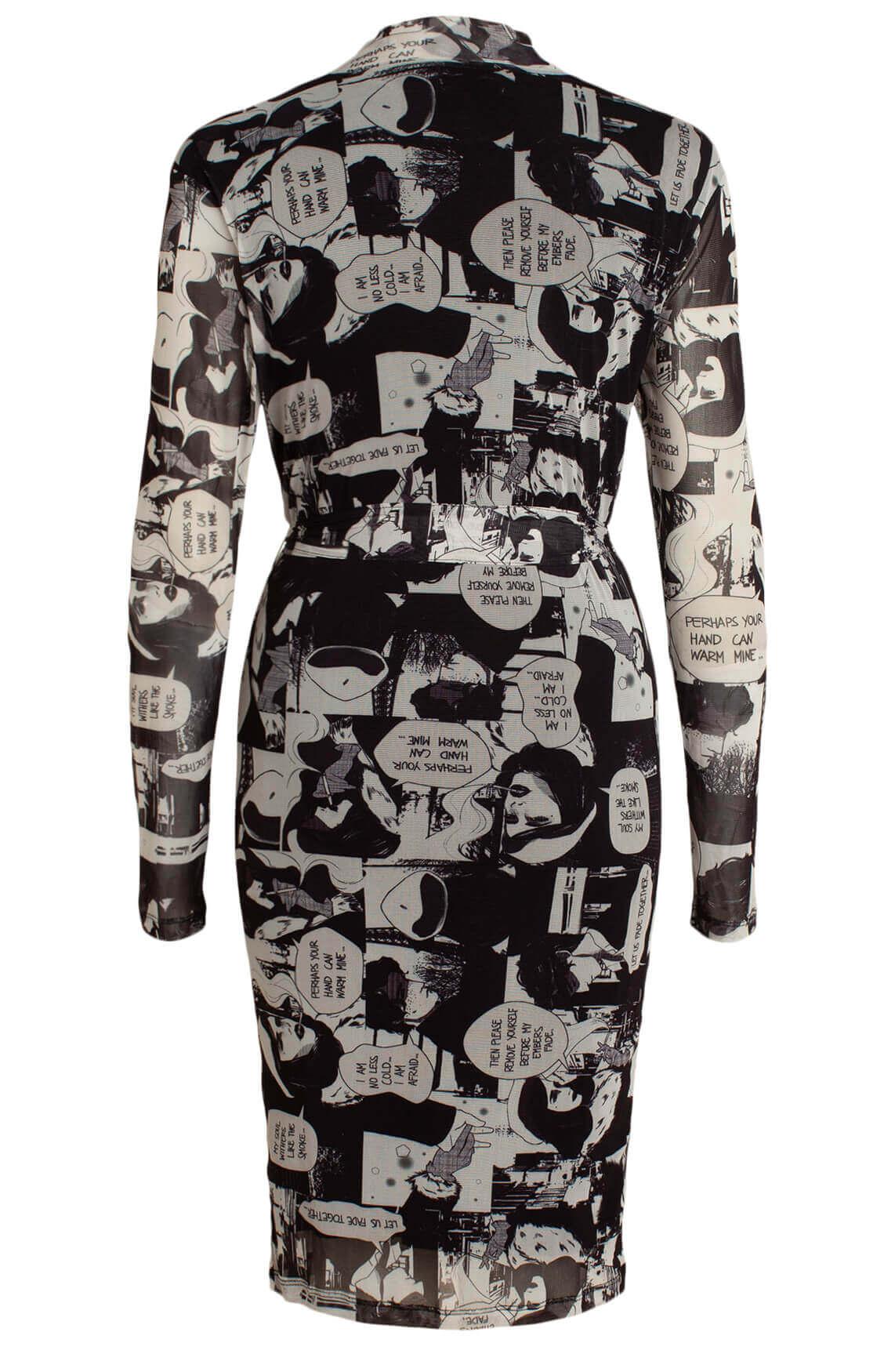Anna Dames Mesh jurk met popart zwart