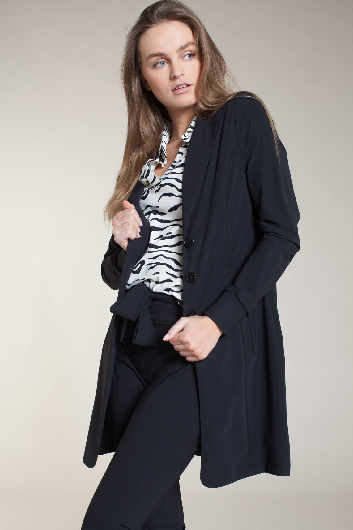 Anna Dames Jersey sensitive blazer zwart