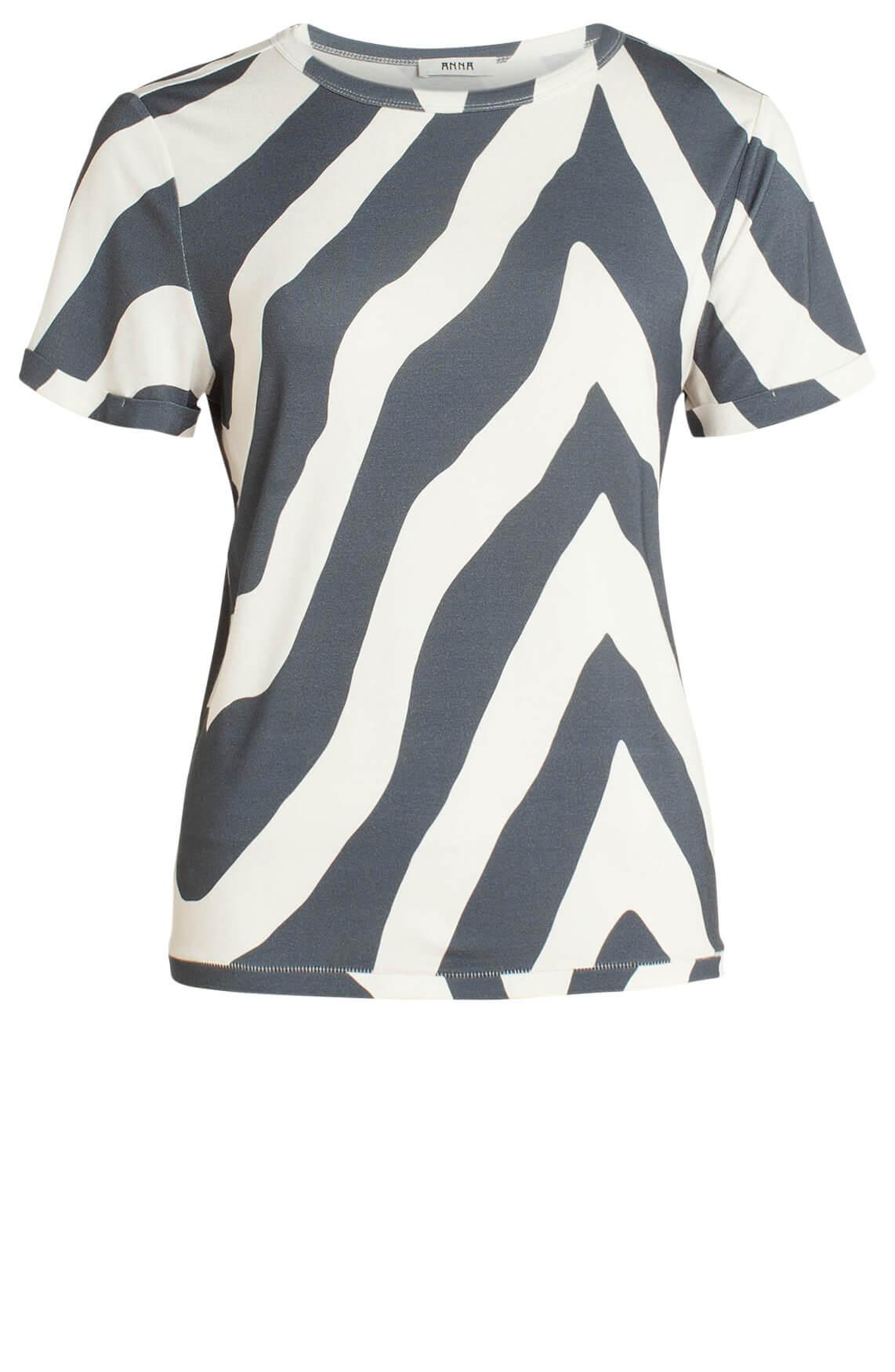Anna Dames Shirt met streepdessin Grijs