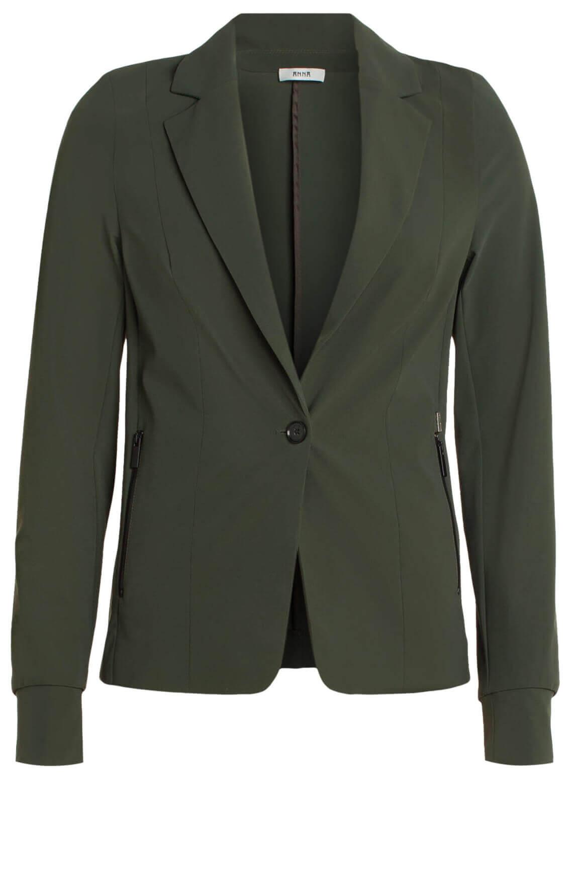 Anna Dames Eurojersey blazer groen