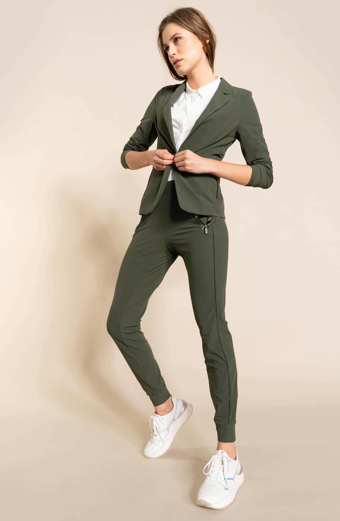 Anna Dames Jersey sensitive blazer groen