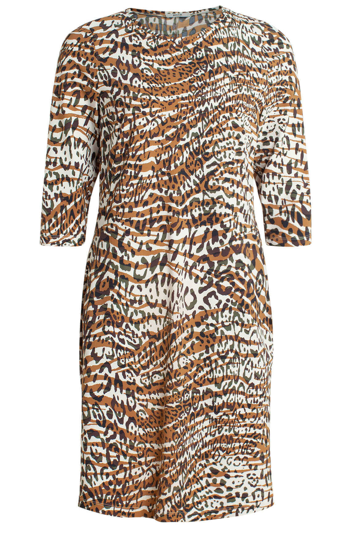 Anna Dames Eurojersey jurk met animalprint Bruin