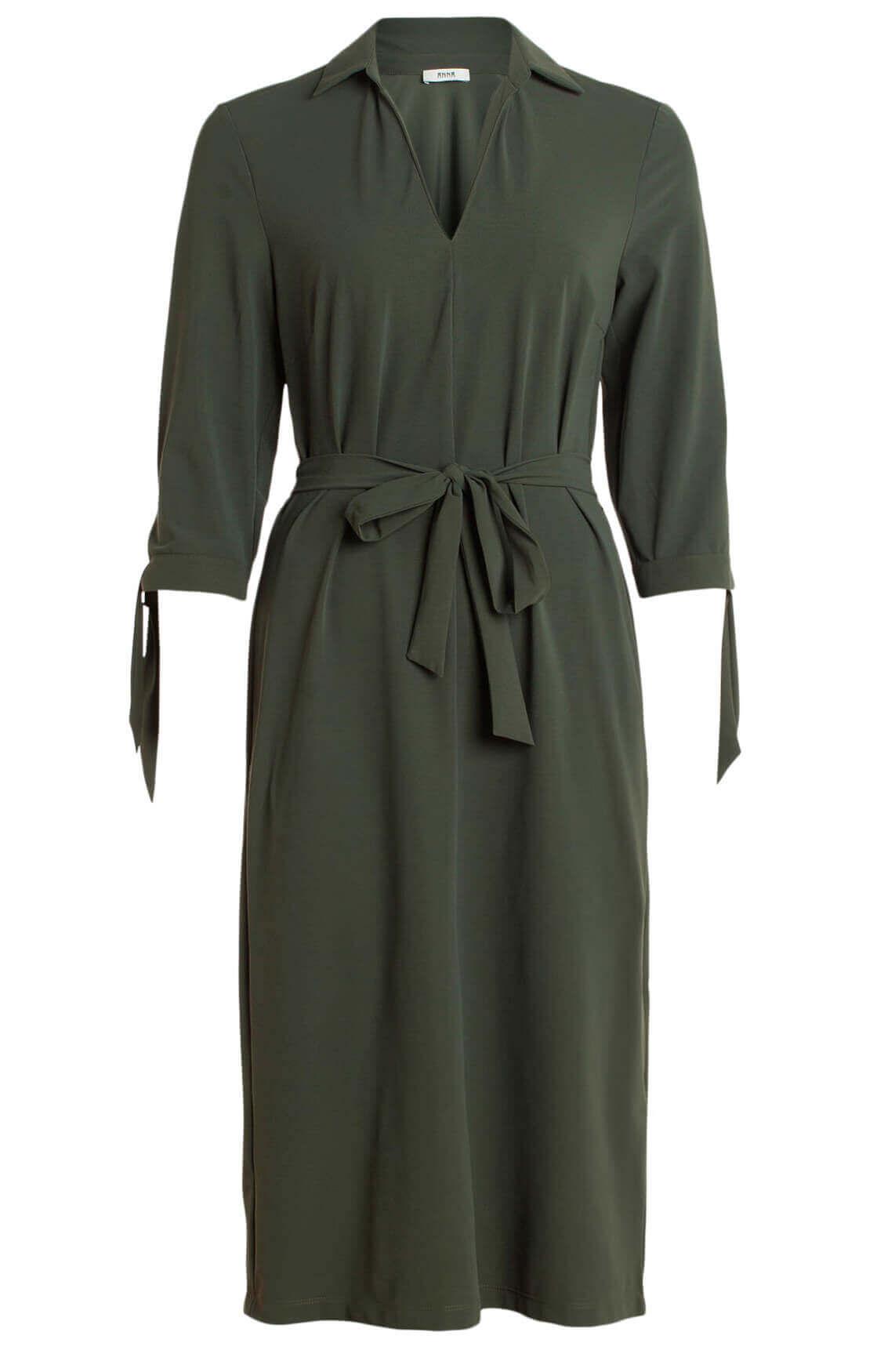 Anna Dames Eurojersey jurk met strikdetail groen