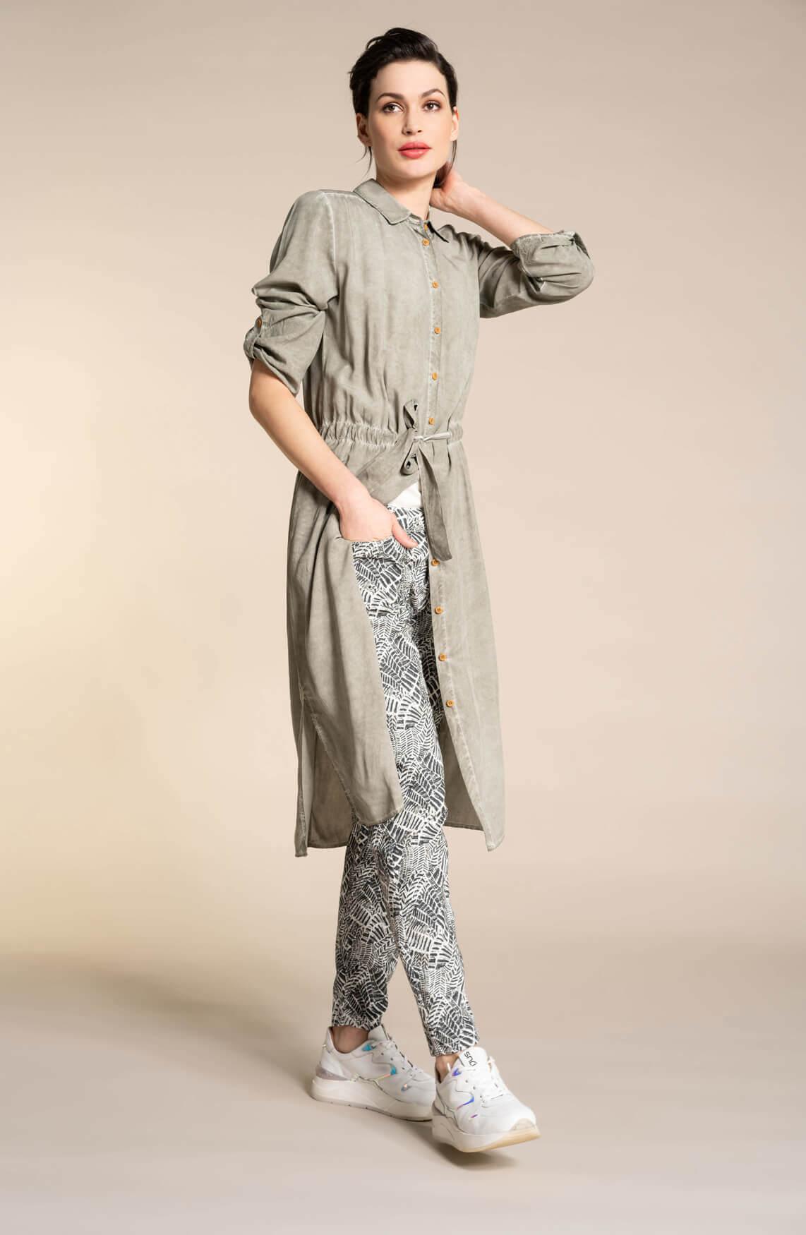 Anna Dames Lange garment dye jurk groen
