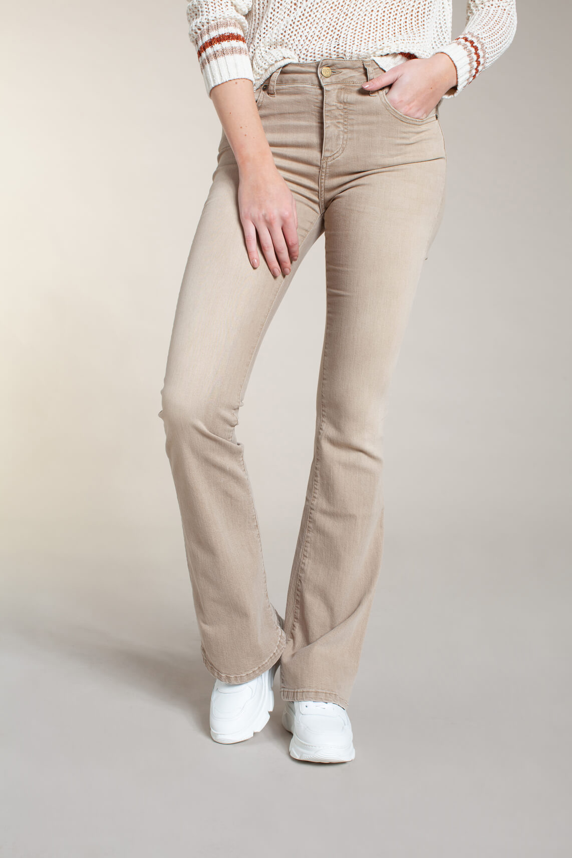 Lois Dames Raval flared jeans Bruin