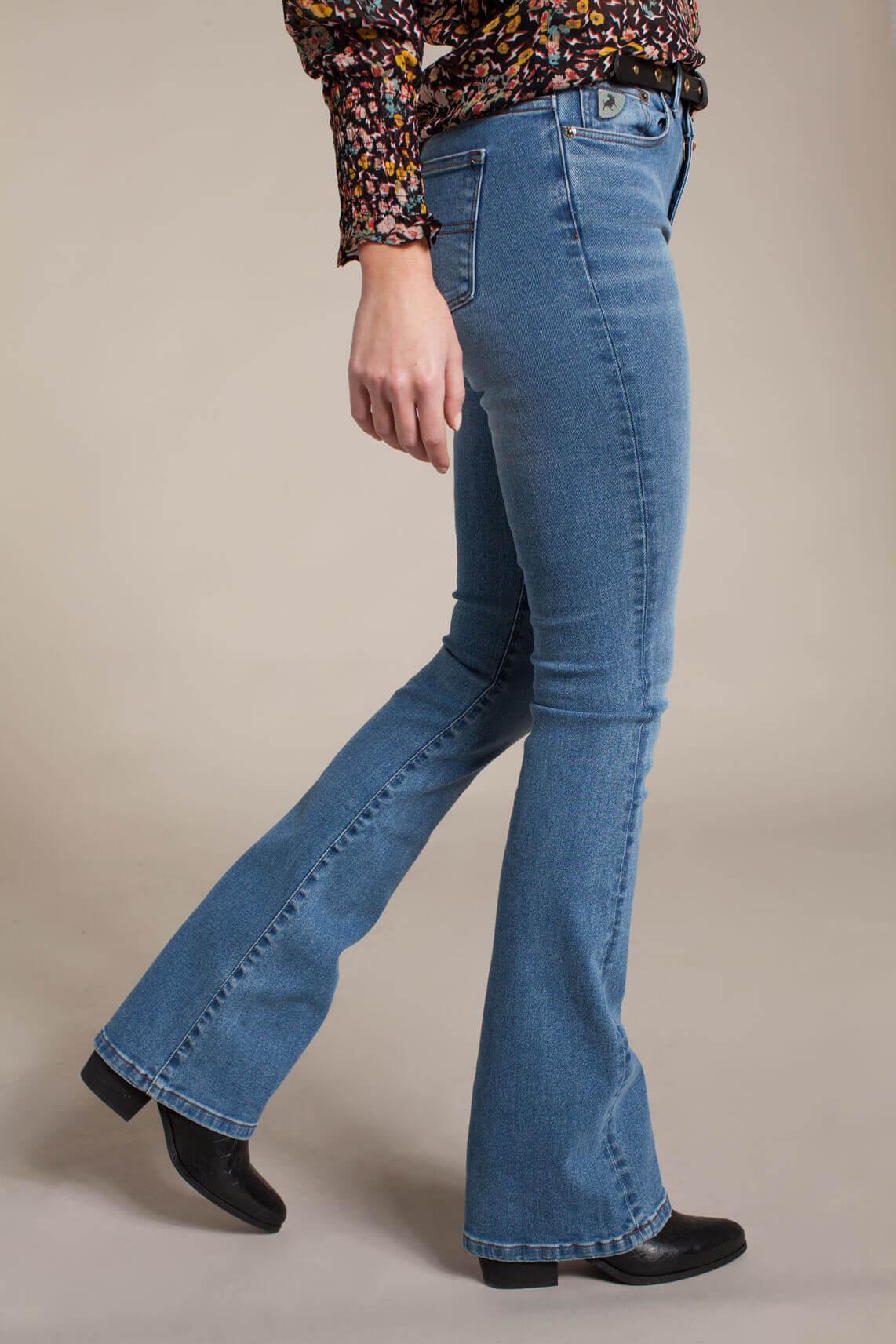Lois Dames L34 Raval super high rise flared jeans Blauw