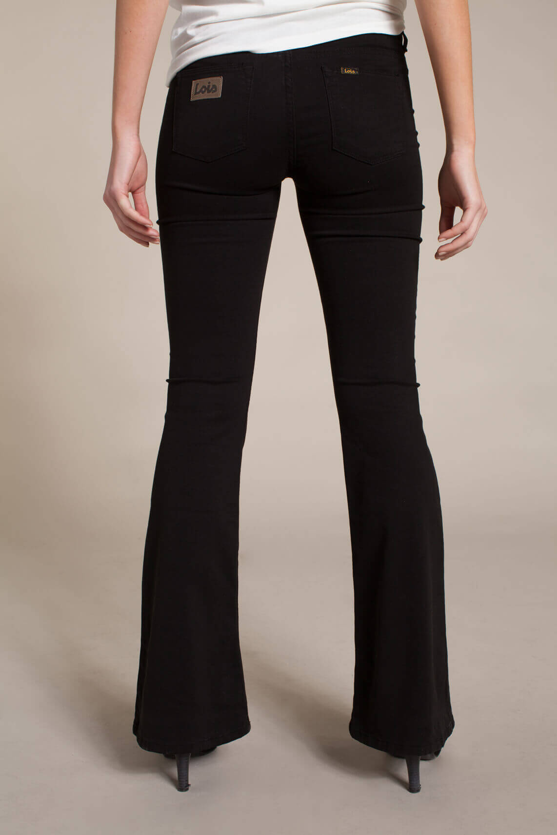 Lois Dames L32 Lea tencel flared broek Zwart