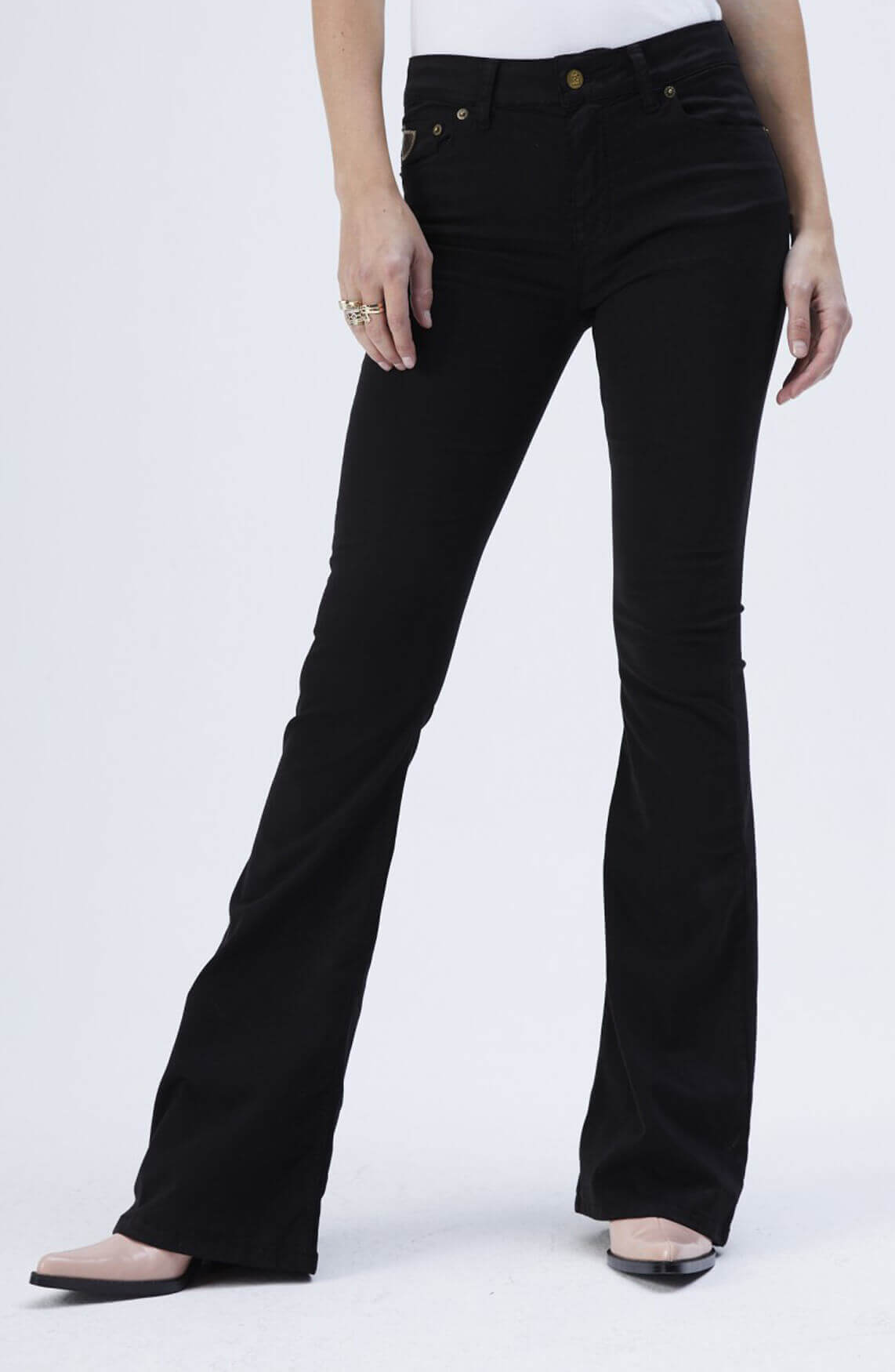 Lois Dames Lea tencel flared broek L32 zwart