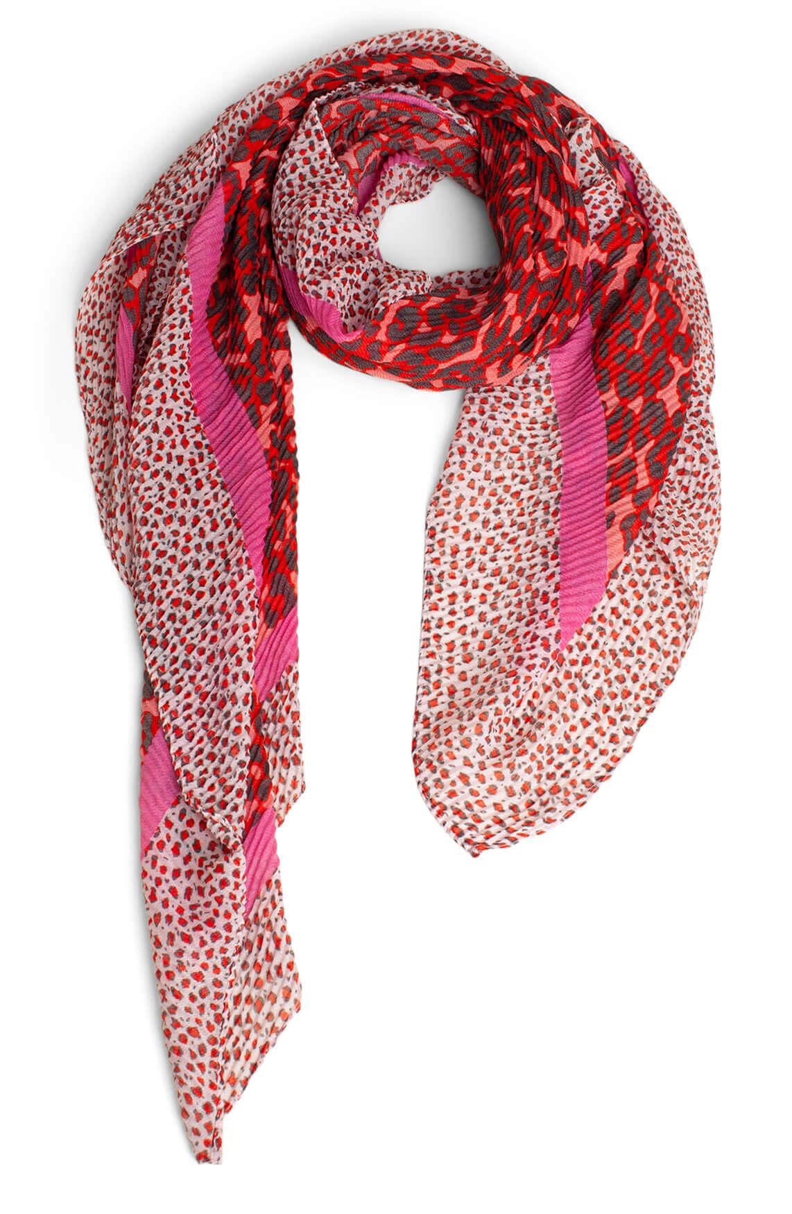 Codello Dames Plissé shawl met panterprint roze