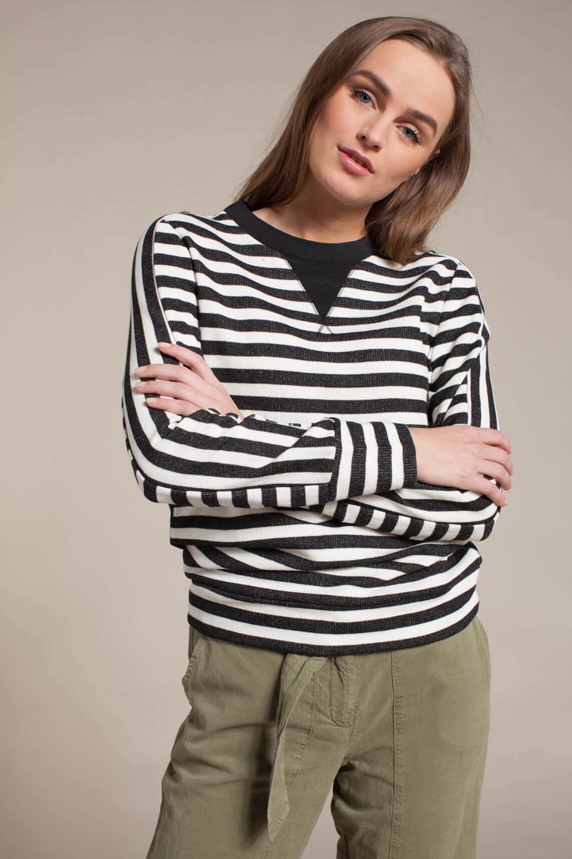 Anna Blue Dames Gestreepte sweater zwart