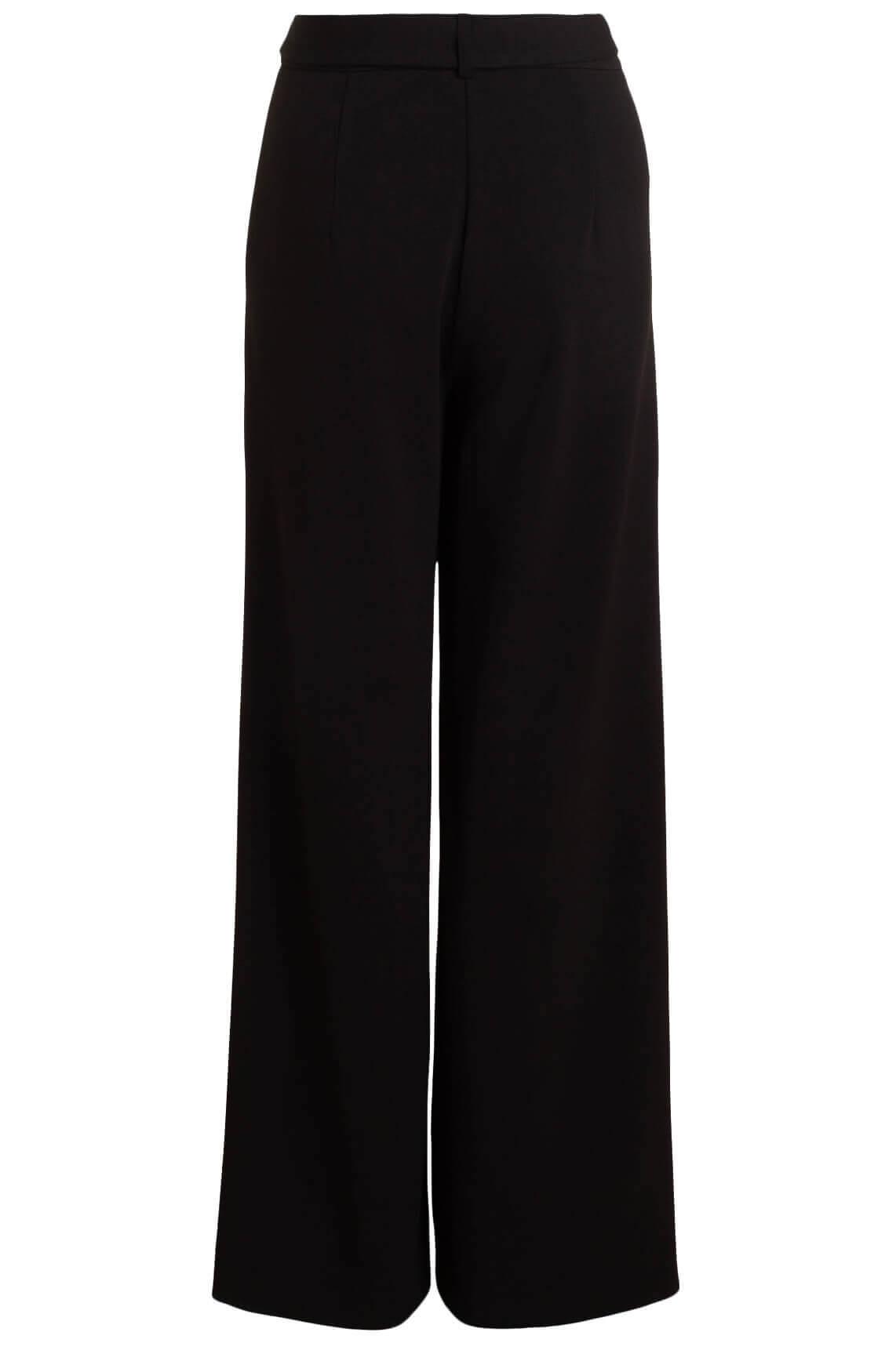 Anna Dames Flared broek met ceintuur zwart