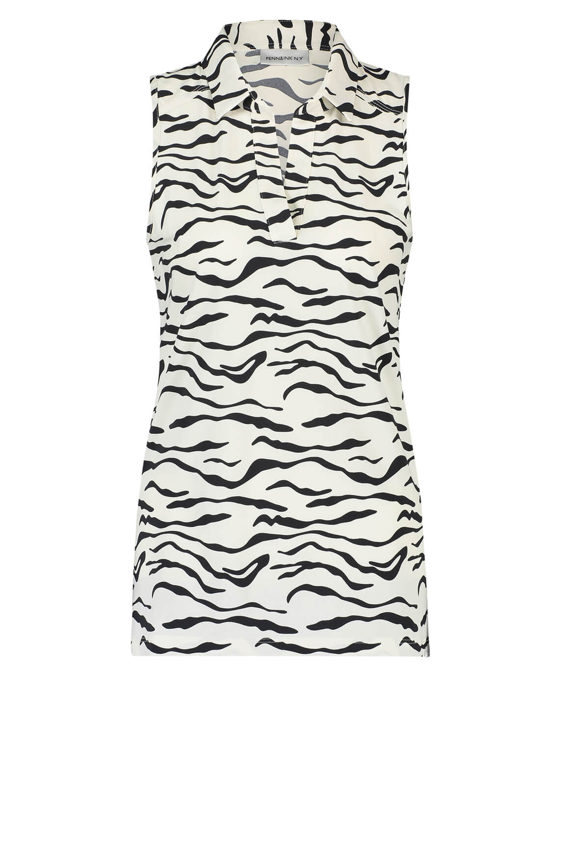 Penn & Ink Dames Mouwloze blouse met zebraprint wit
