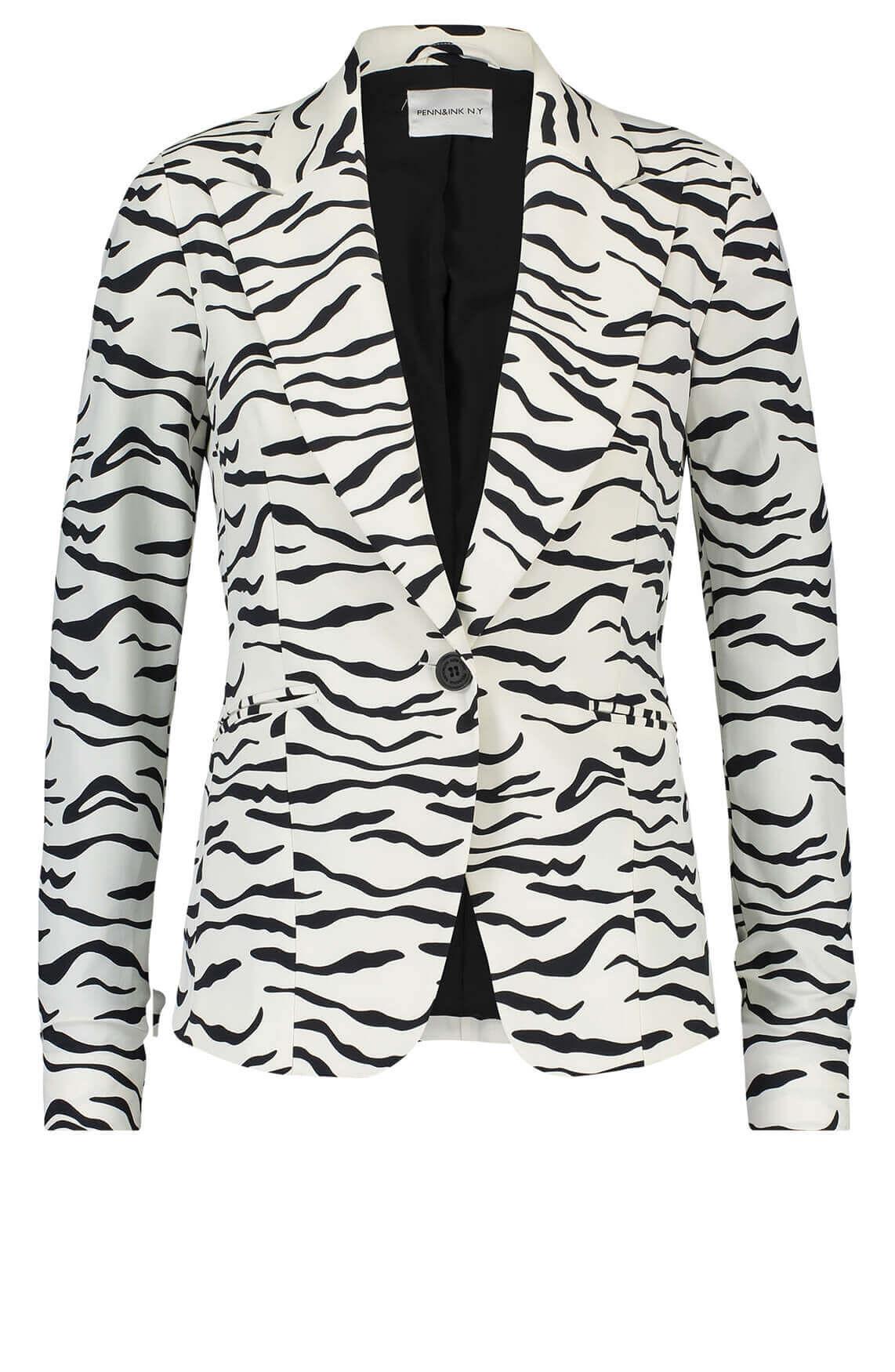 Penn & Ink Dames Boston blazer met zebraprint wit