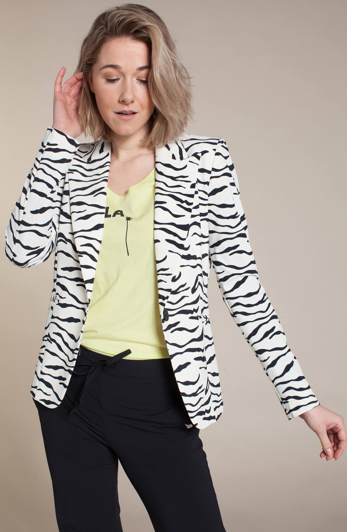 Penn & Ink Dames Blazer met zebraprint wit