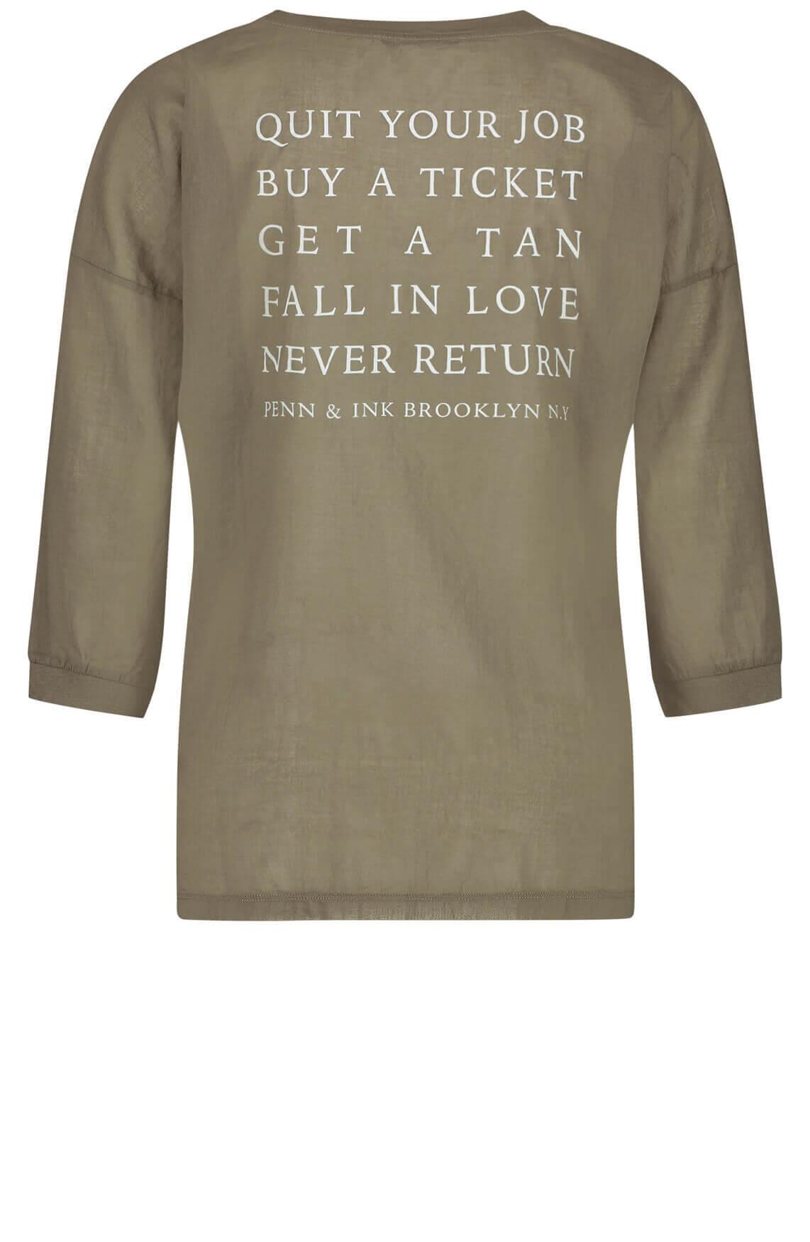 Penn & Ink Dames Shirt met v-hals groen