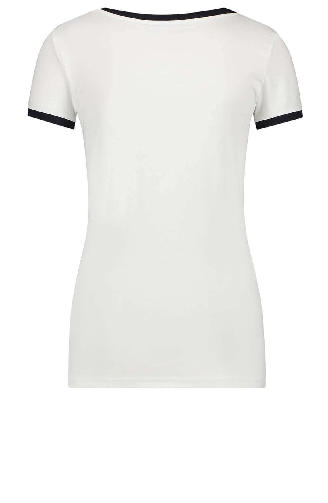 Penn & Ink Dames Shirt met contrasterende kraag wit