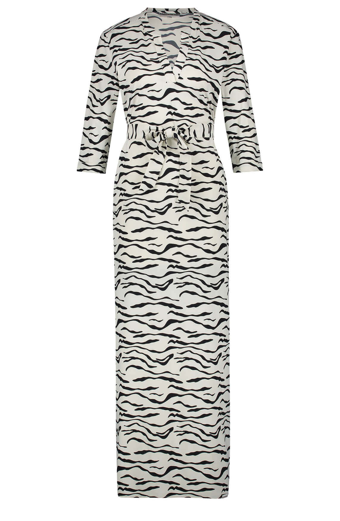 Penn & Ink Dames Jurk met zebraprint wit