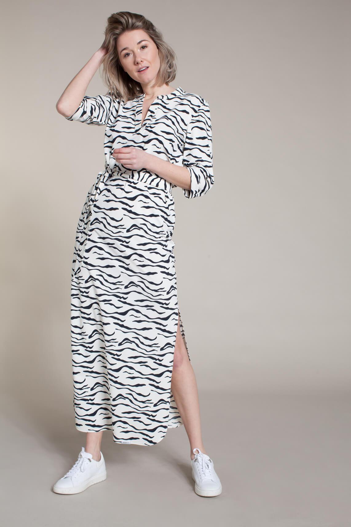 Penn & Ink Dames Jurk met zebraprint wit