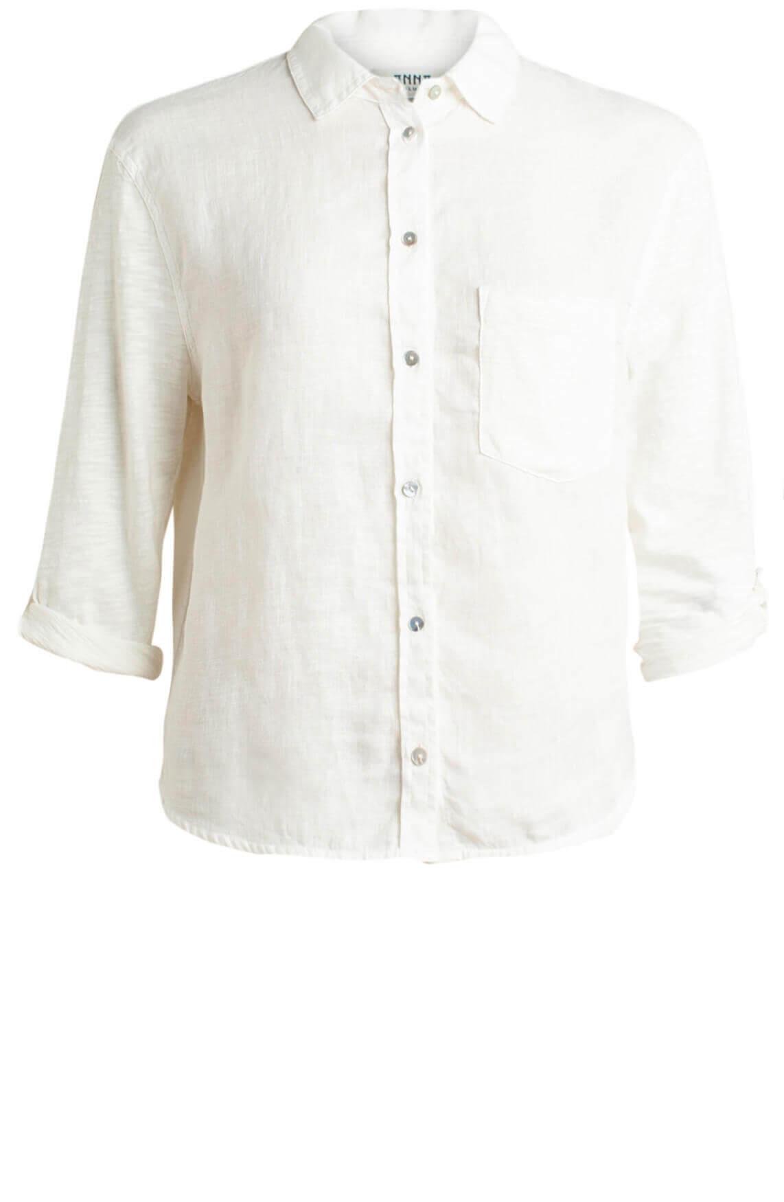 Anna Blue Dames Linnen blouse wit