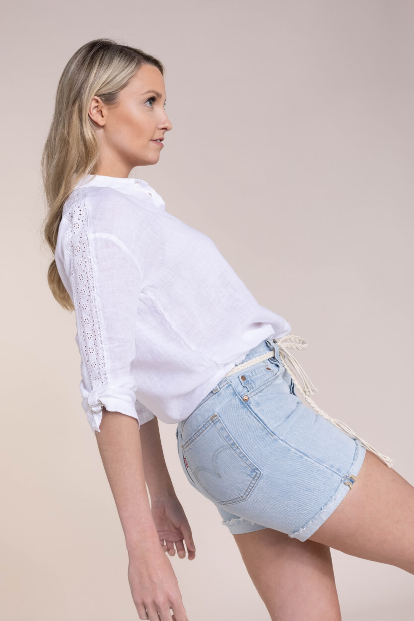 Anna Blue Dames Blouse met broderie Wit