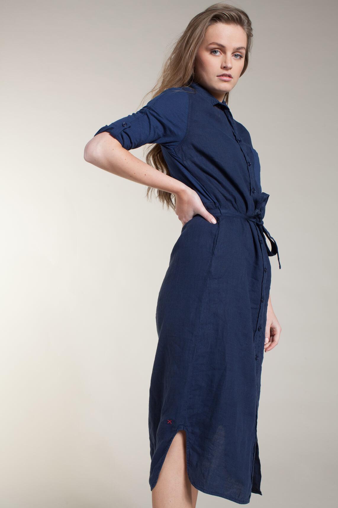 Anna Blue Dames Materiaalmix jurk Blauw