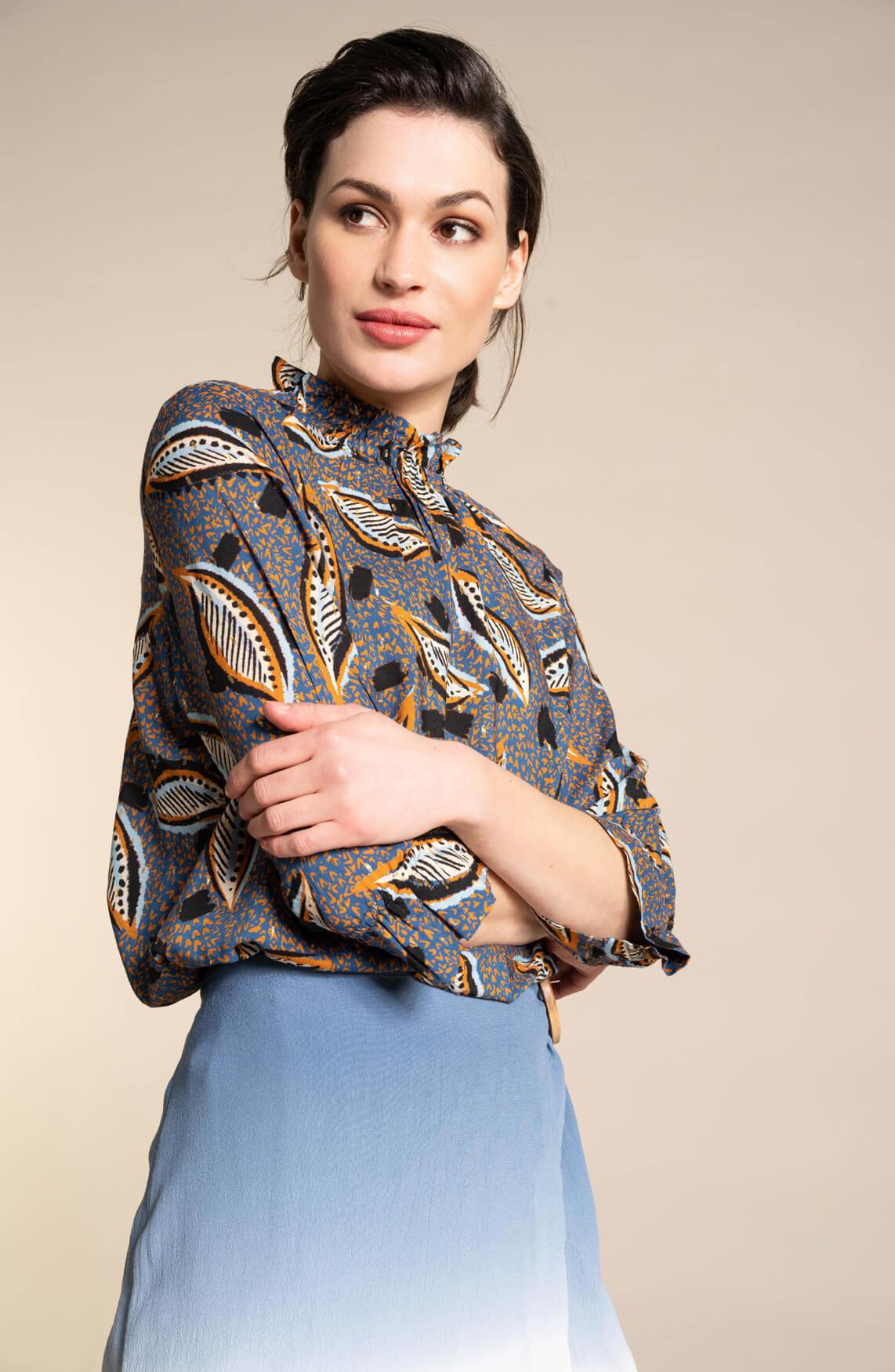 Anna Dames Geprinte blouse Blauw