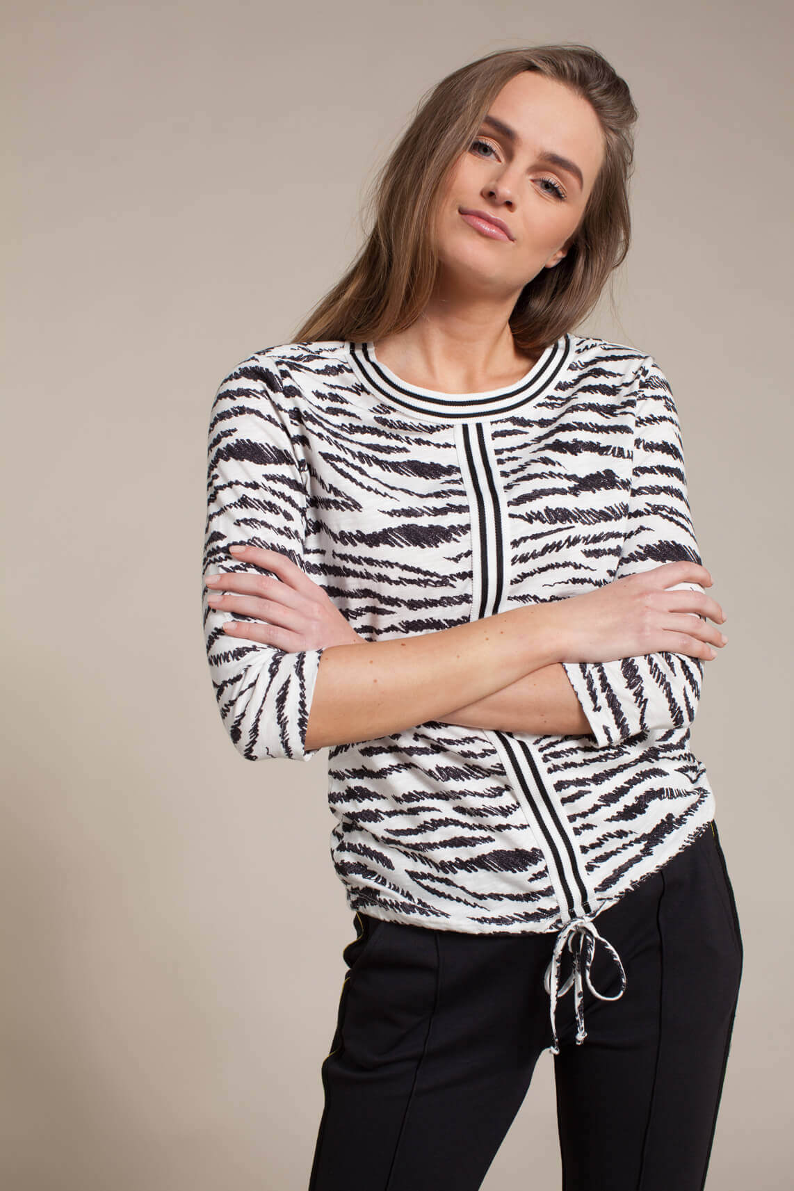 Anna Blue Dames Shirt met animalprint wit