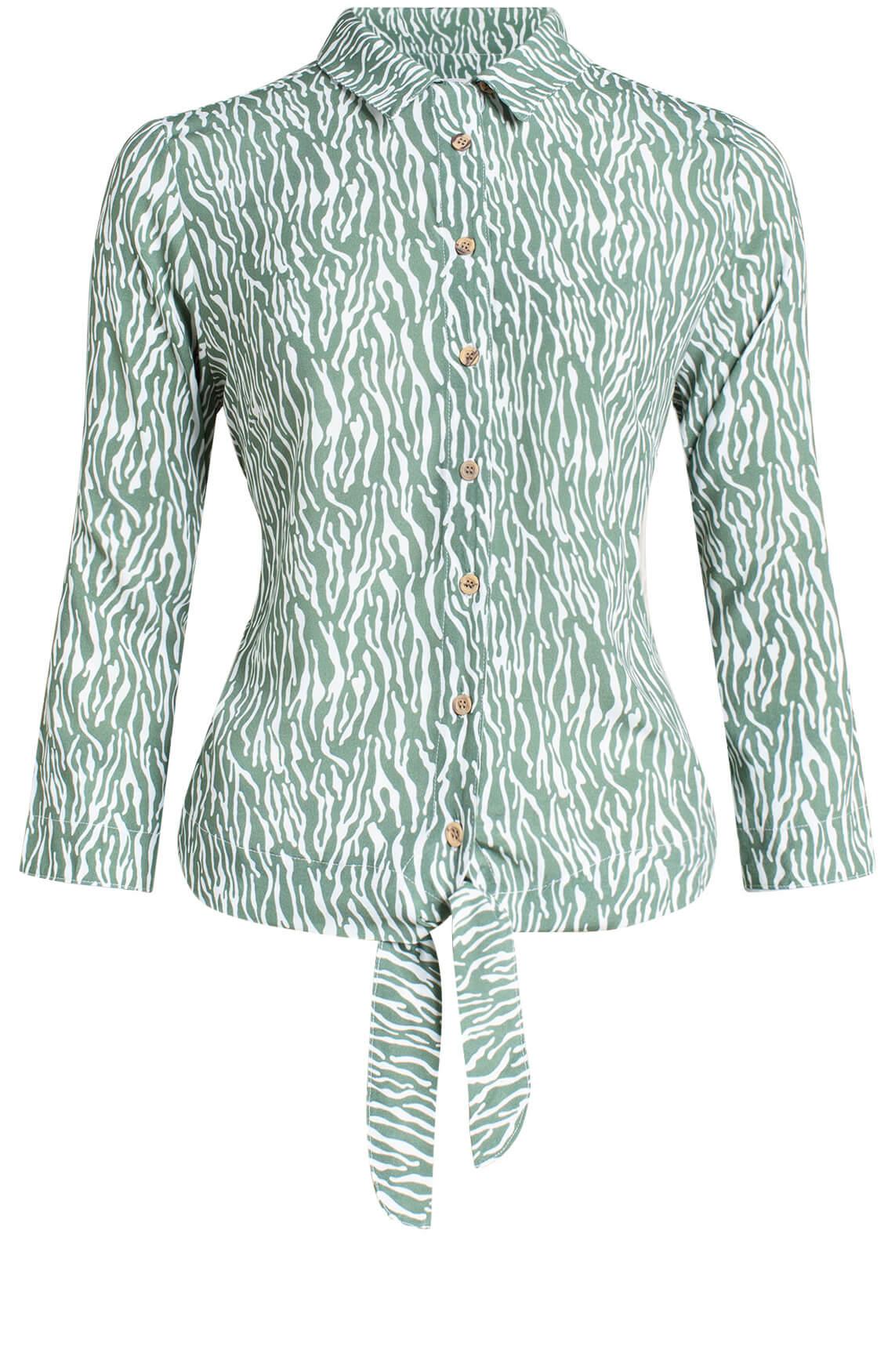 Anna Blue Dames Zebraprint blouse groen