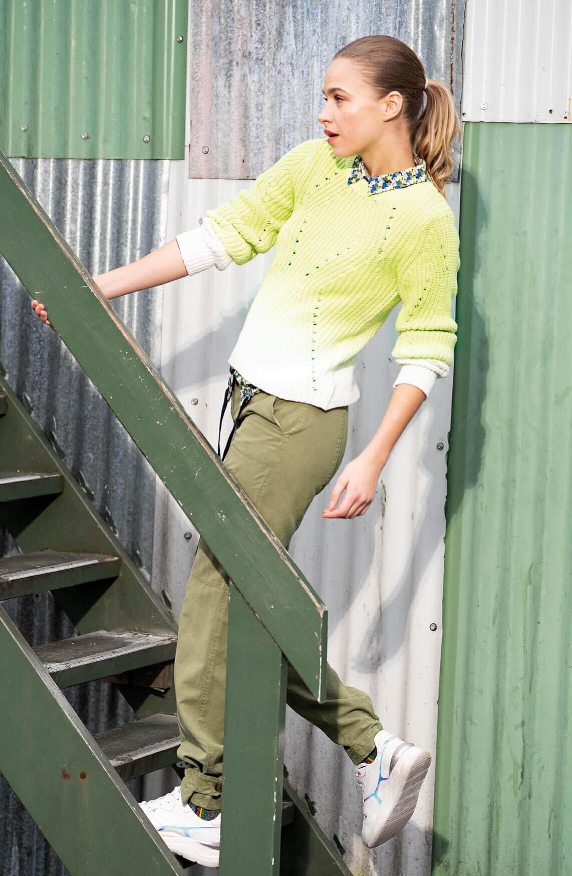 Anna Blue Dames Blouse met sterrenprint groen