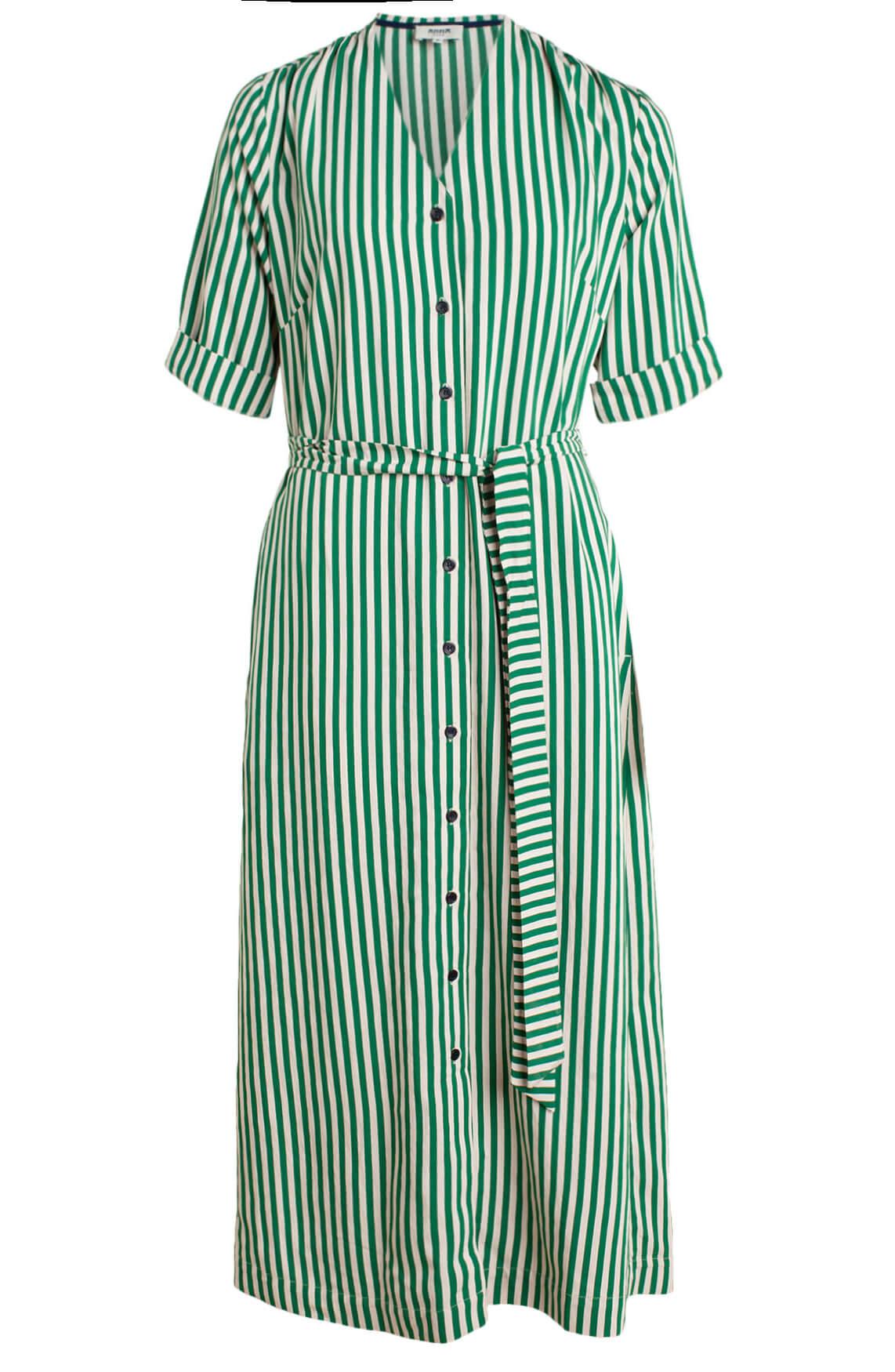 Anna Blue Dames Gestreepte blousejurk groen