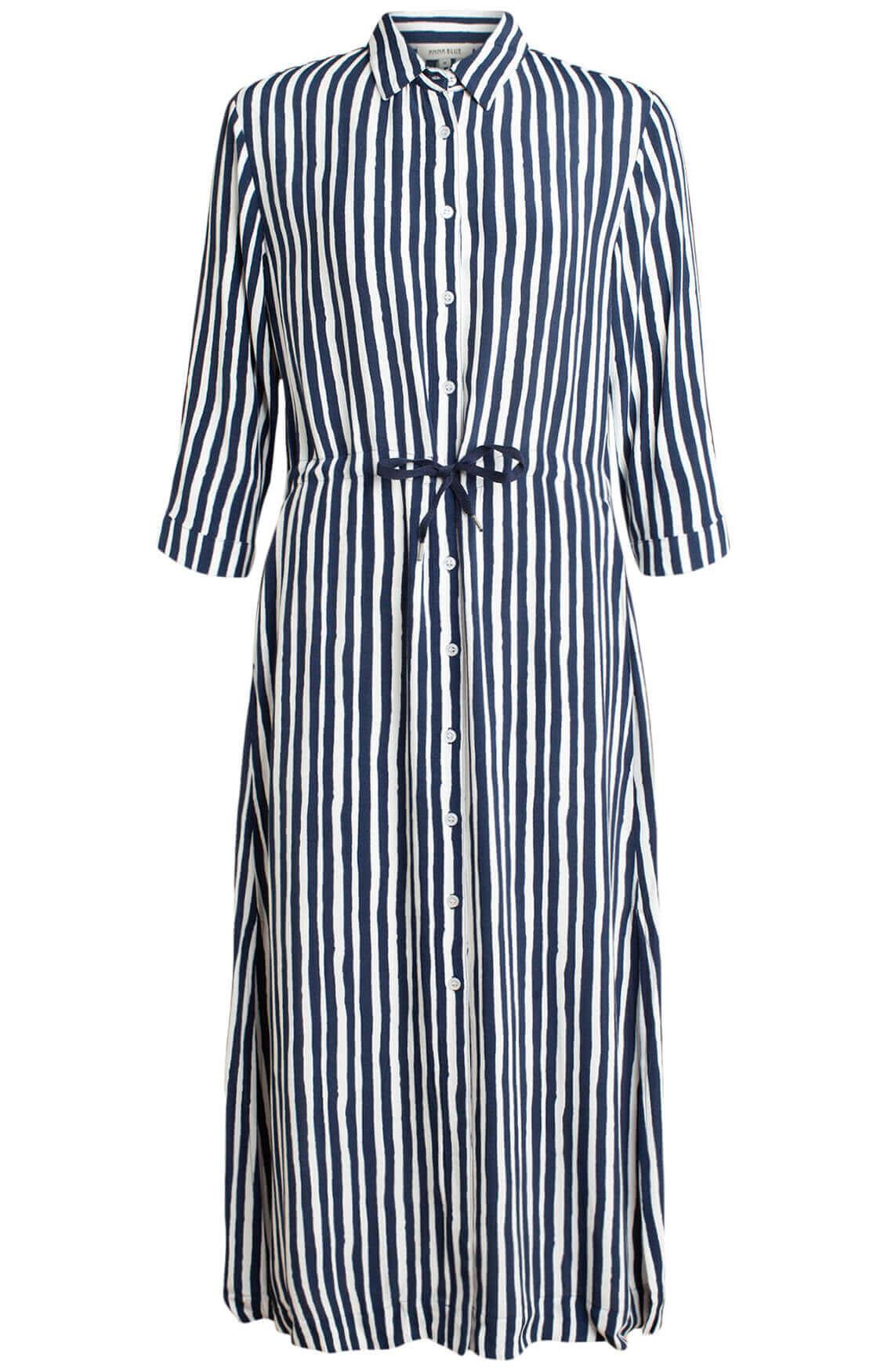 Anna Blue Dames Gestreepte jurk Blauw