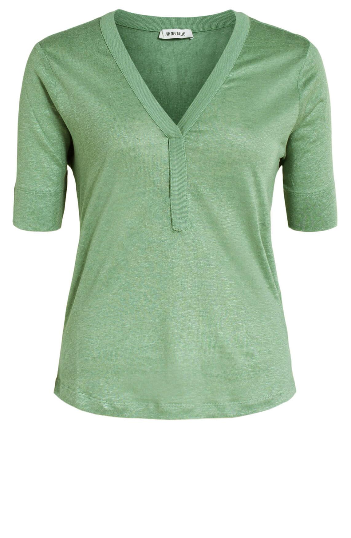Anna Blue Dames Linnen shirt met V-hals groen